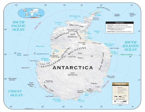 Antarctica Shaded Relief Map Kappa Map Group