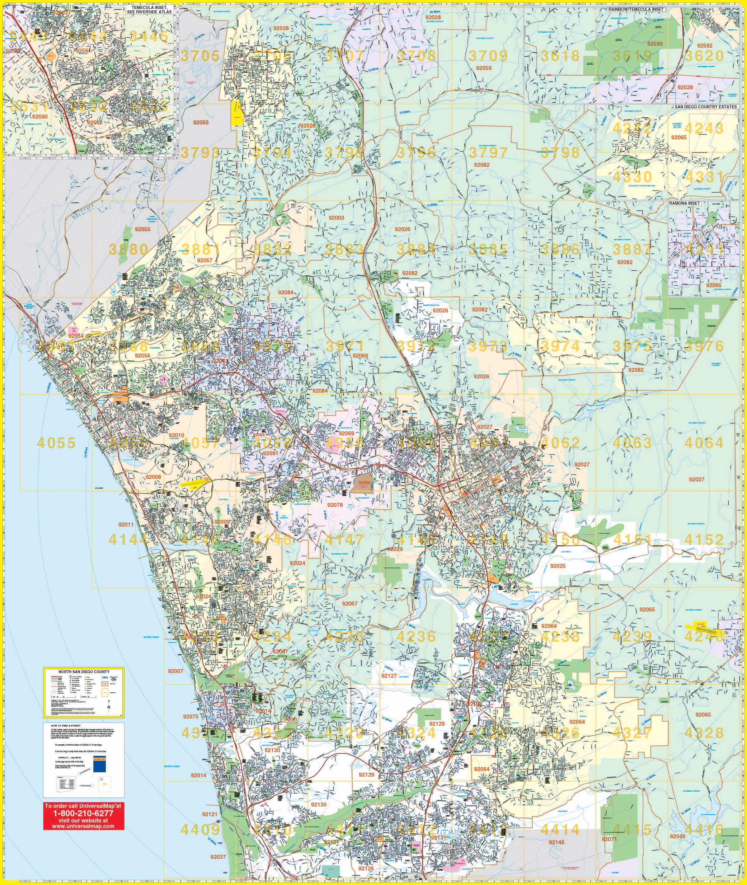 San Diego, CA North Wall Map – KAPPA MAP GROUP
