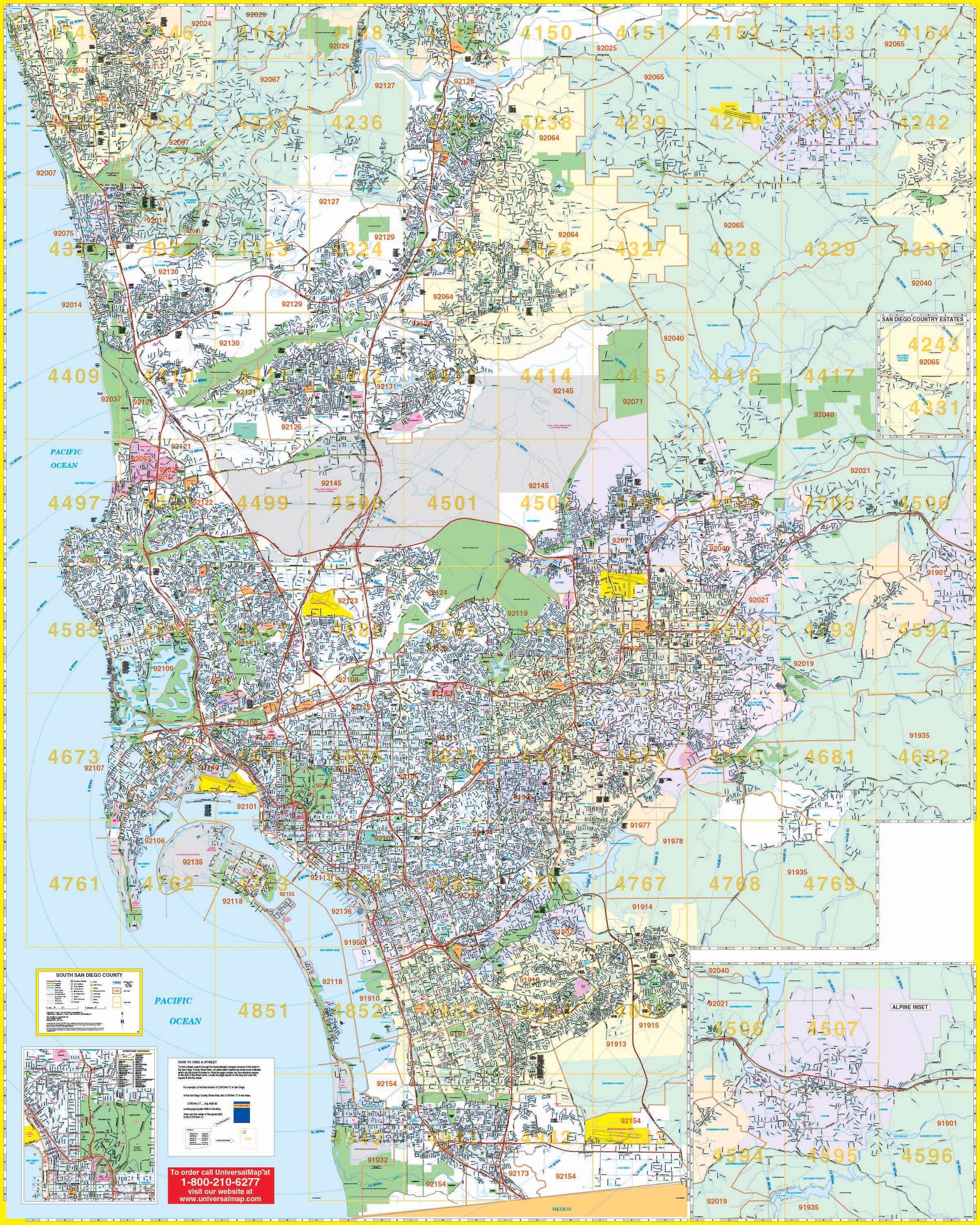 San Diego, CA South Wall Map – KAPPA MAP GROUP