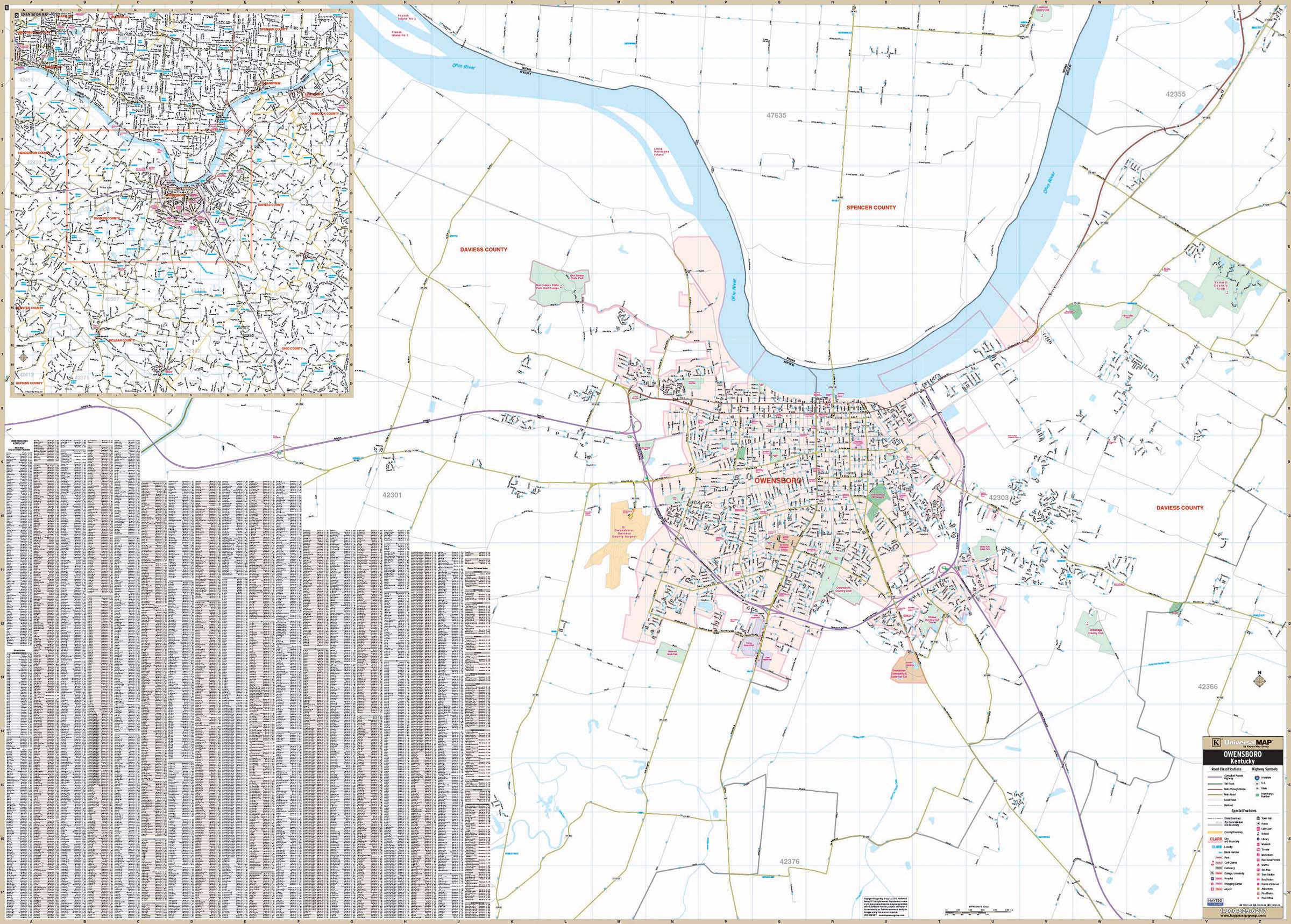 Owensboro ky wall map kappa map group owensboro ky wall map publicscrutiny Choice Image