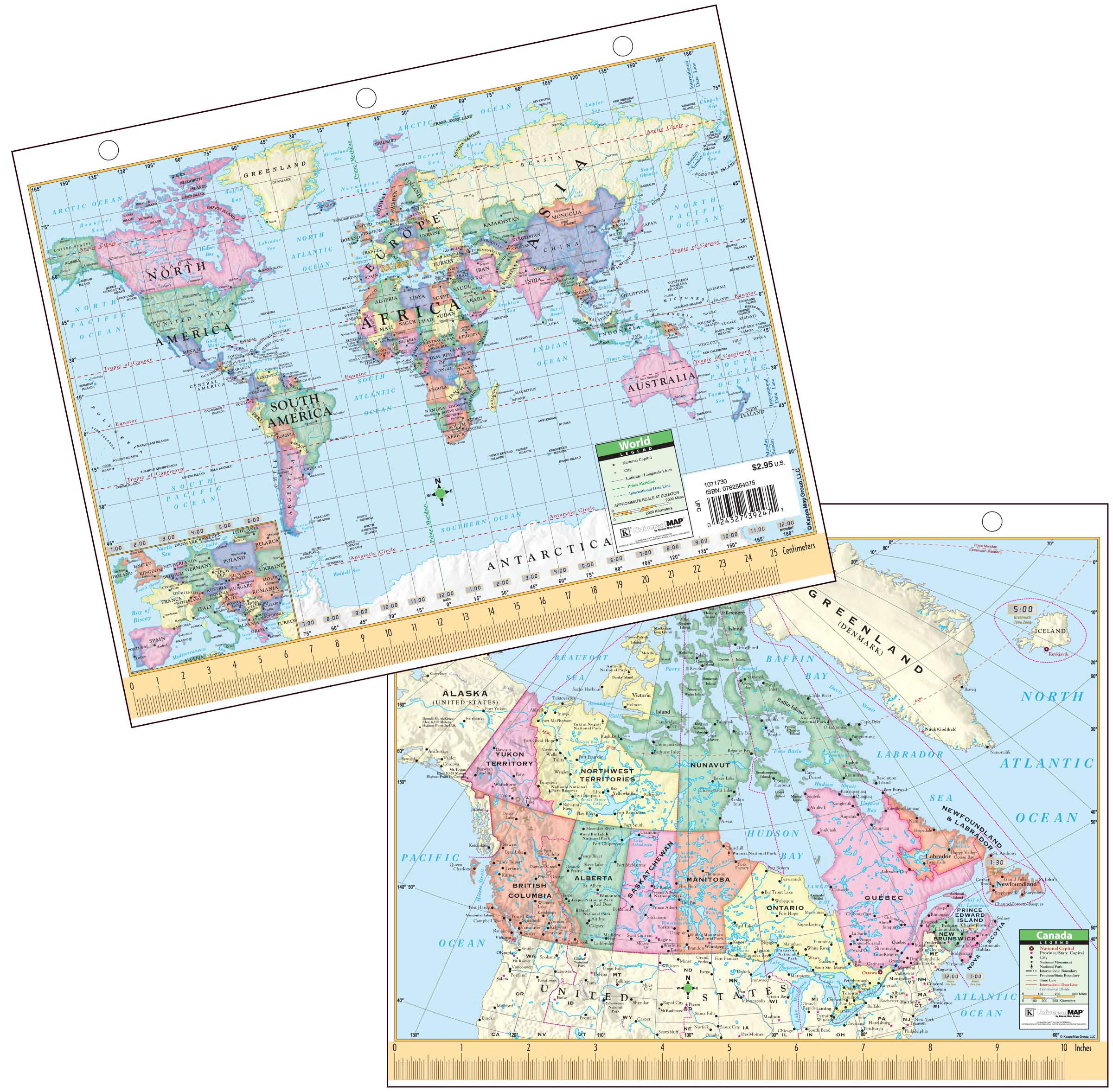 Map Of Canada And Europe.Canada World Notebook Map Kappa Map Group