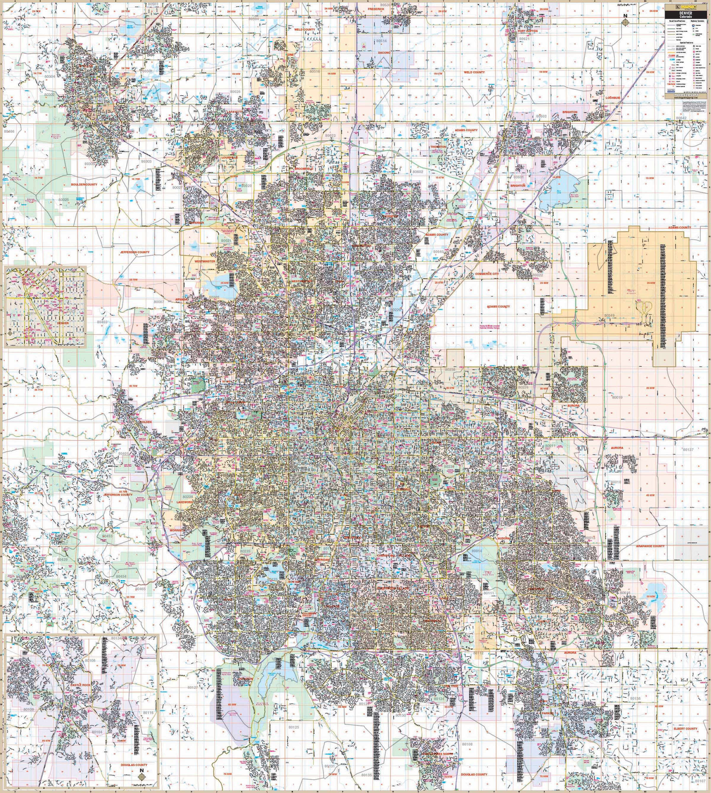 Denver, CO Metro Area Wall Map – KAPPA MAP GROUP