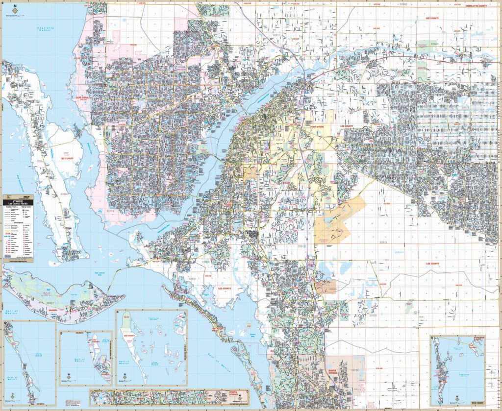 Ft Myers Map Of Florida.Fort Myers Lee Co Fl Wall Map Kappa Map Group