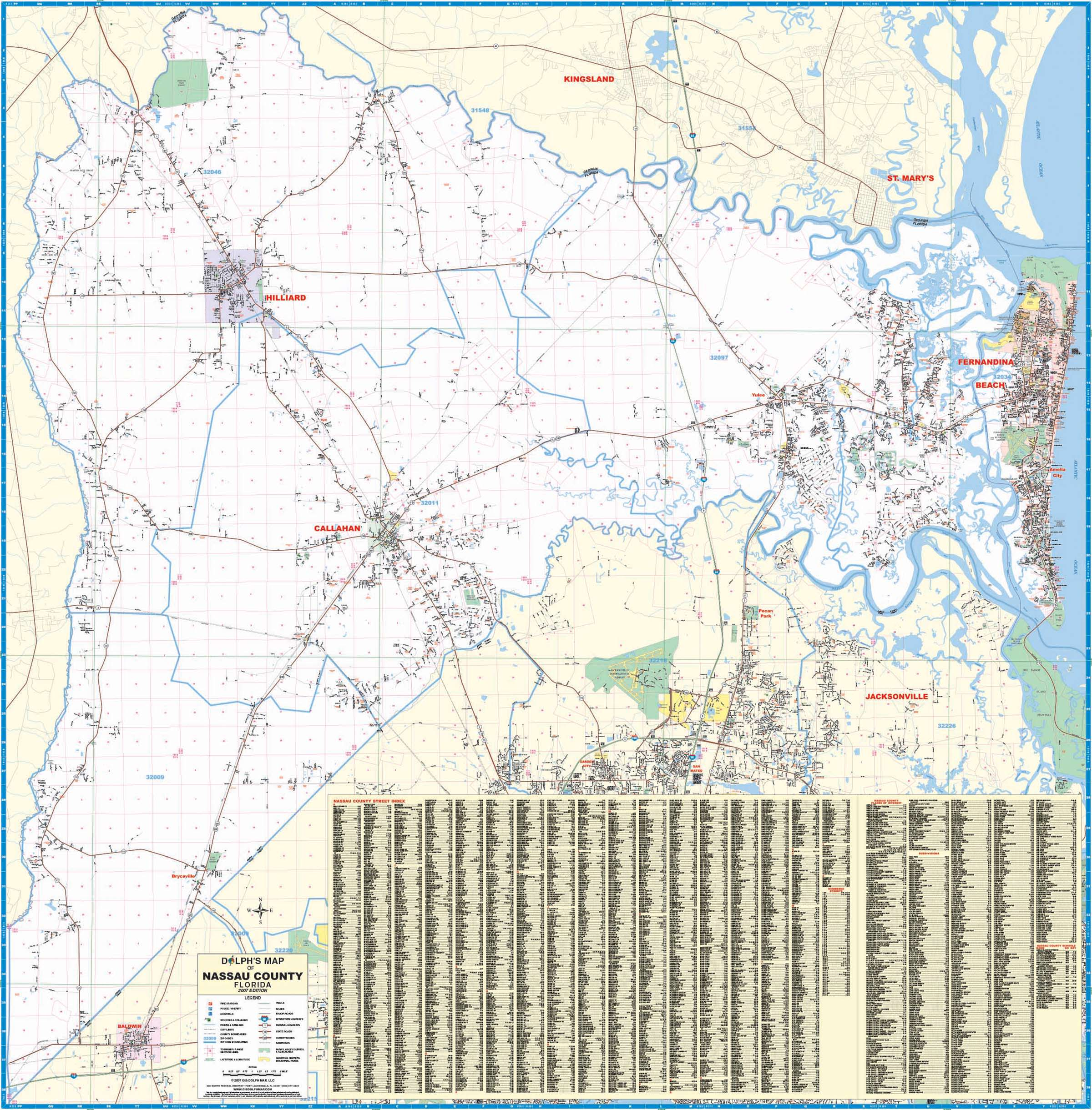 Nassau County Fl Wall Map Kappa Map Group