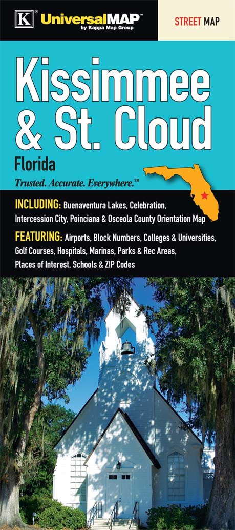 St Cloud Florida Map.Kissimmee St Cloud Fl Fold Map Kappa Map Group