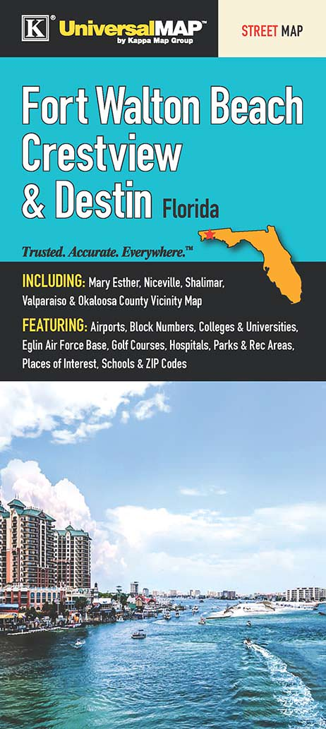 Fort Walton Beach, Crestview & Destin, FL Fold Map