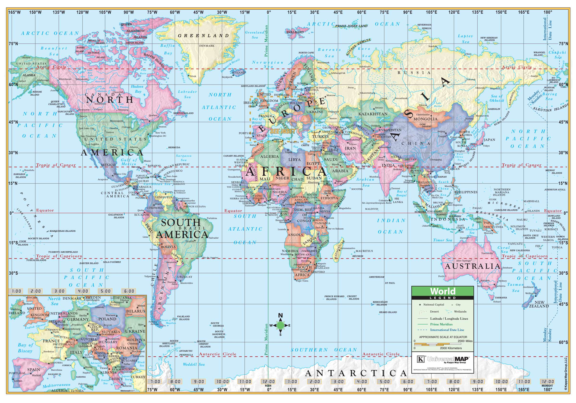 World Political Rolled Map Laminated KAPPA MAP GROUP