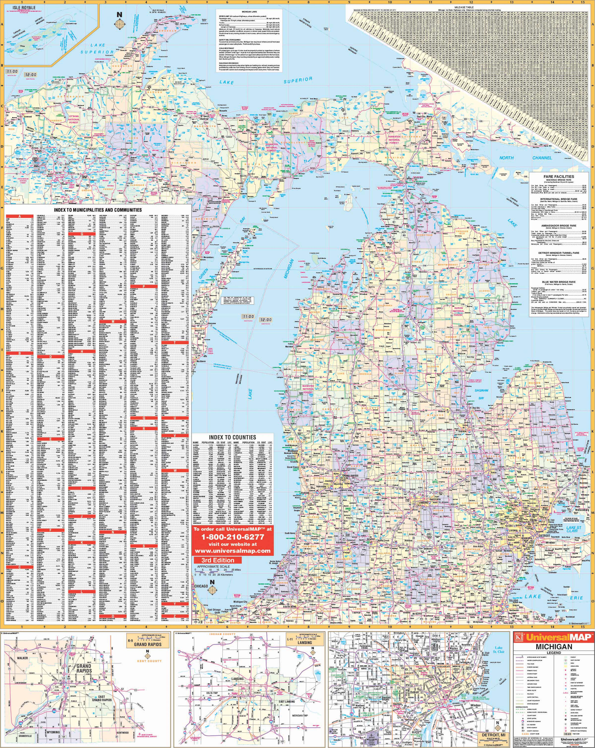 Michigan Map Of State.Michigan State Wall Map Kappa Map Group