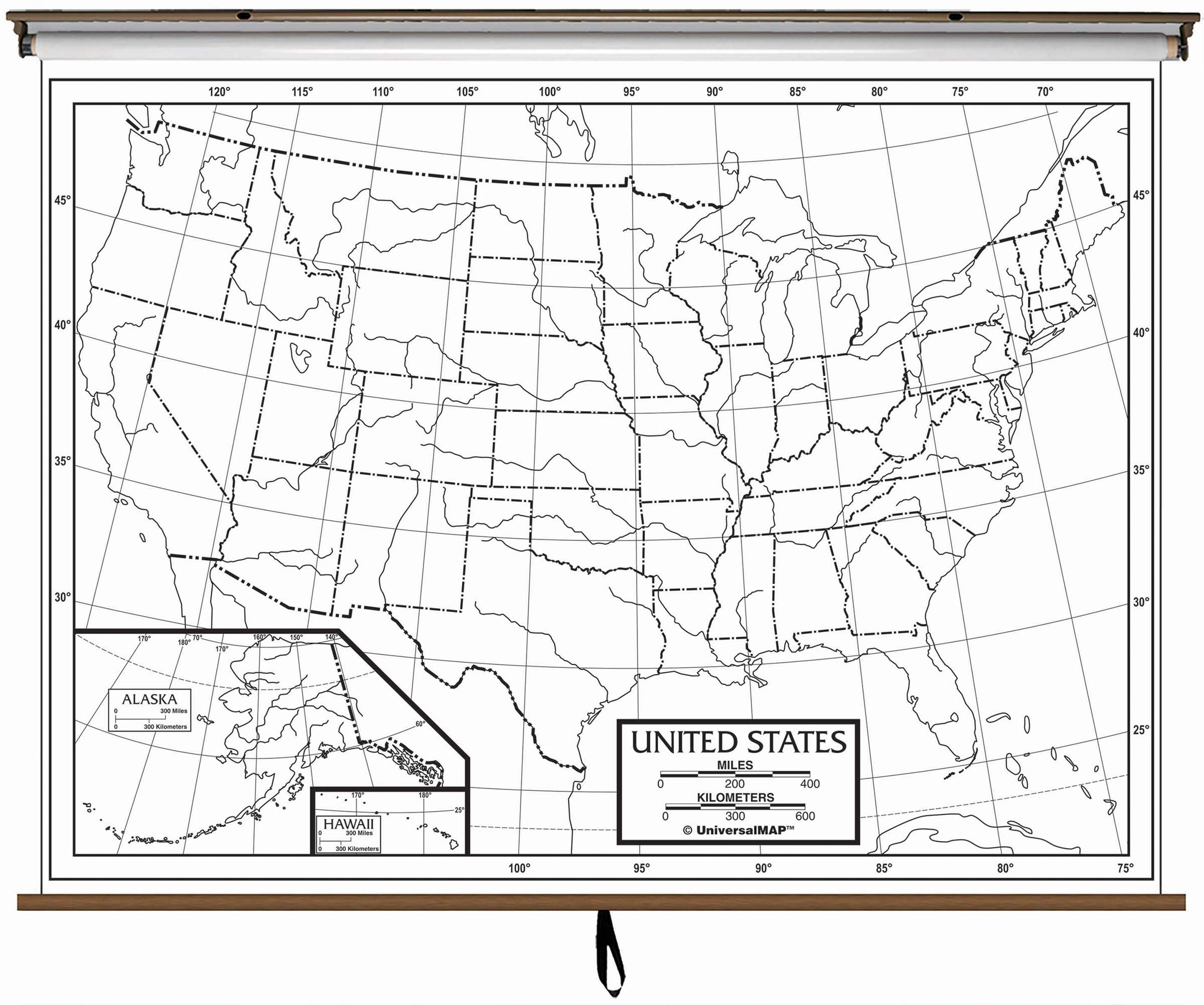 Us Outline Wall Map On Roller Kappa Map Group - Map-of-the-us-outline