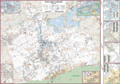 Sevierville Zip Code Map.Sevier County Tn Wall Map Kappa Map Group