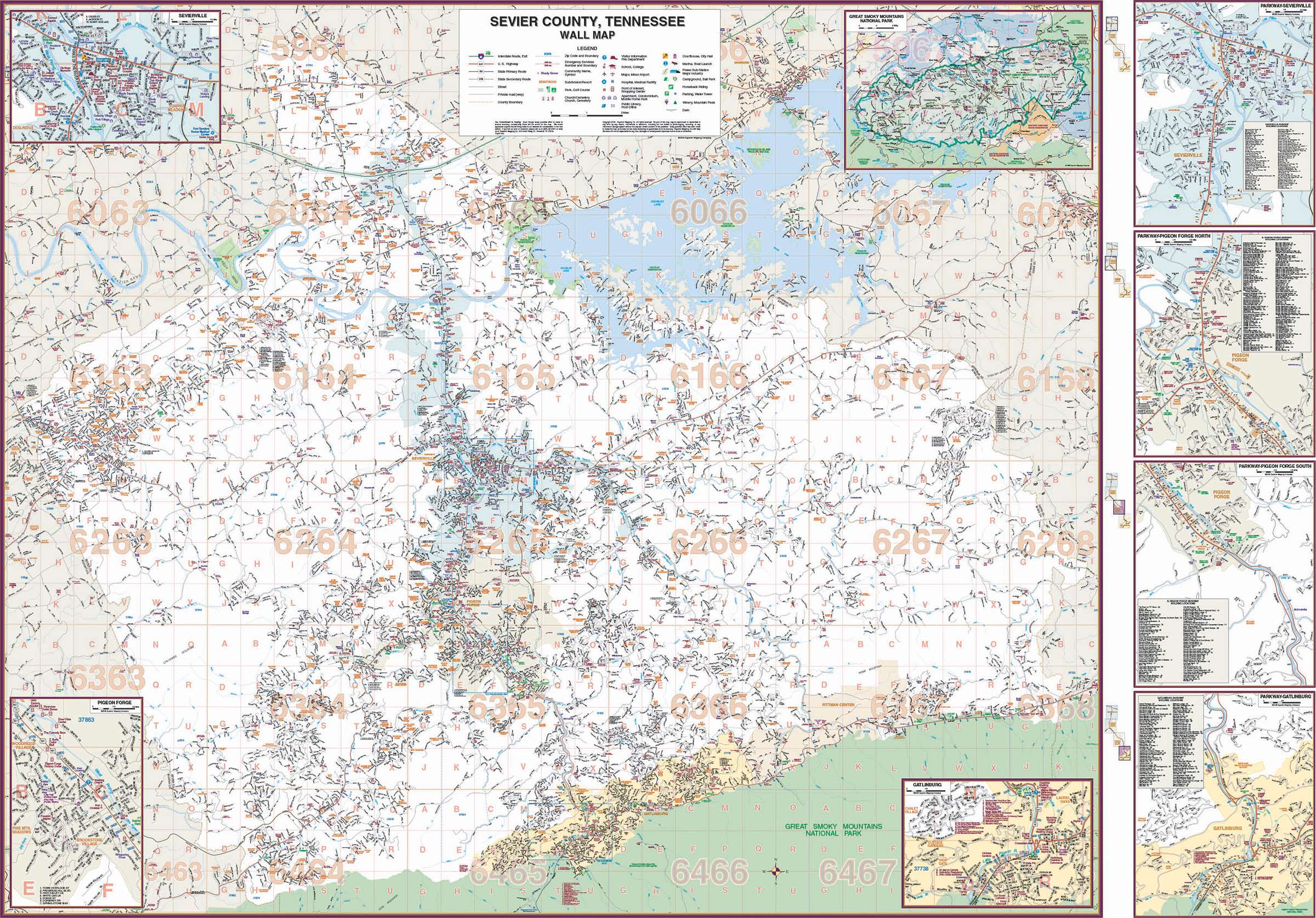 sevier county fire map Sevier County Tn Wall Map Kappa Map Group