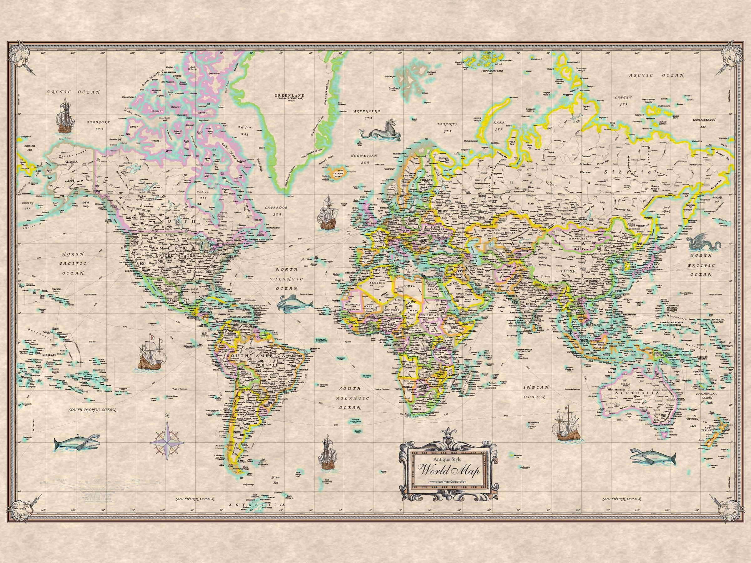 World AntiqueLook Rolled Map Paper KAPPA MAP GROUP
