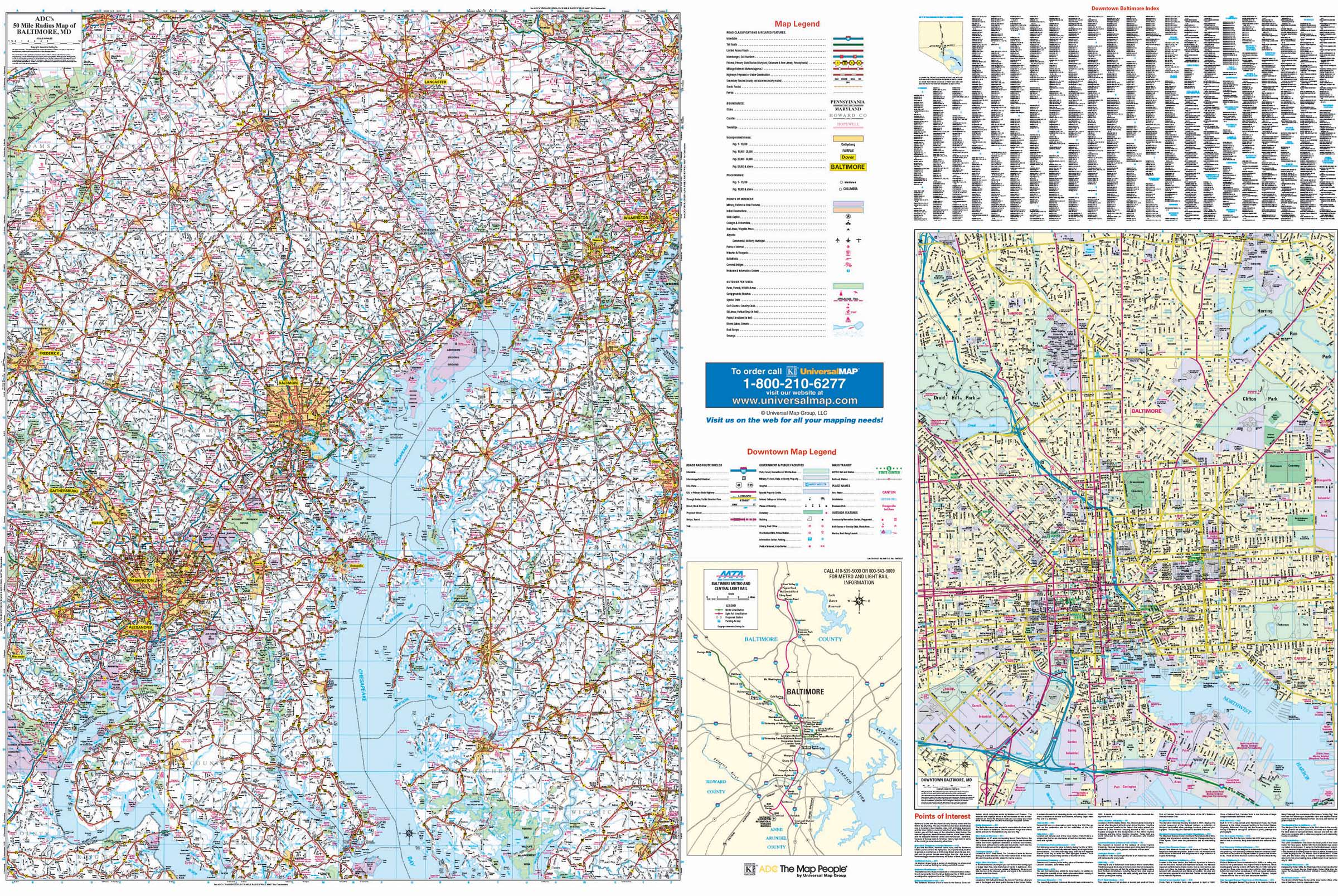 Baltimore, Maryland 50-mile Radius Vicinity Wall Map – KAPPA MAP GROUP
