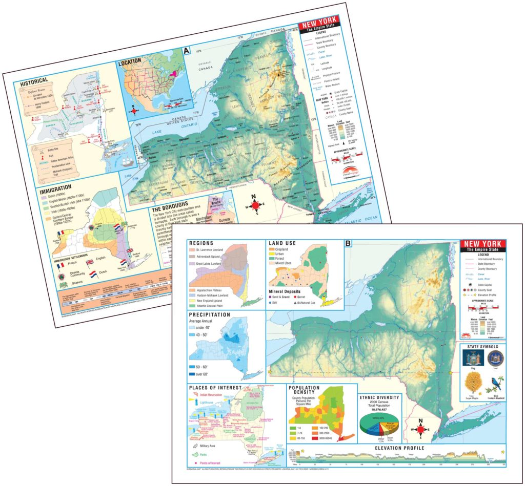 New York State Thematic Deskpad Map (30-pack) – KAPPA MAP GROUP New York State Elevation Map on