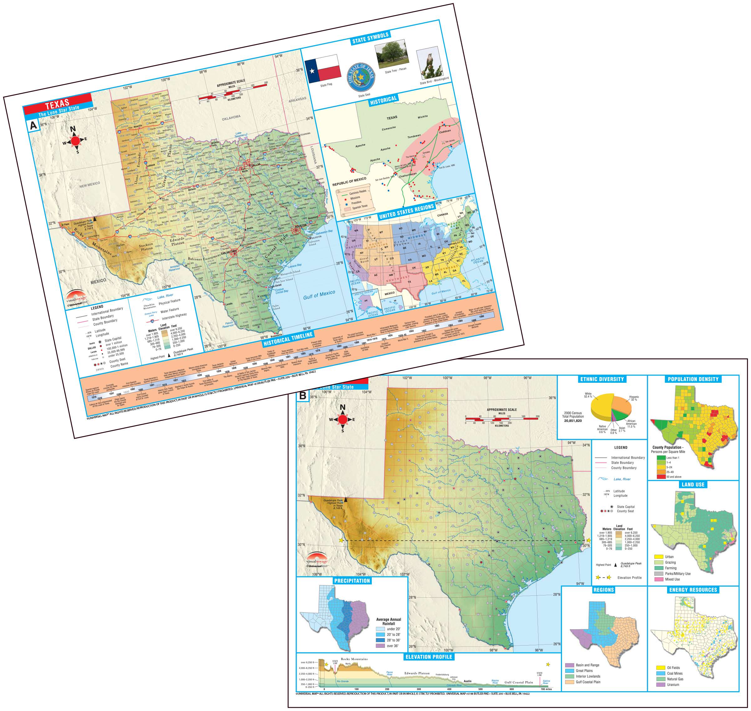 Texas State Thematic Deskpad Map Pack KAPPA MAP GROUP - Texas state map