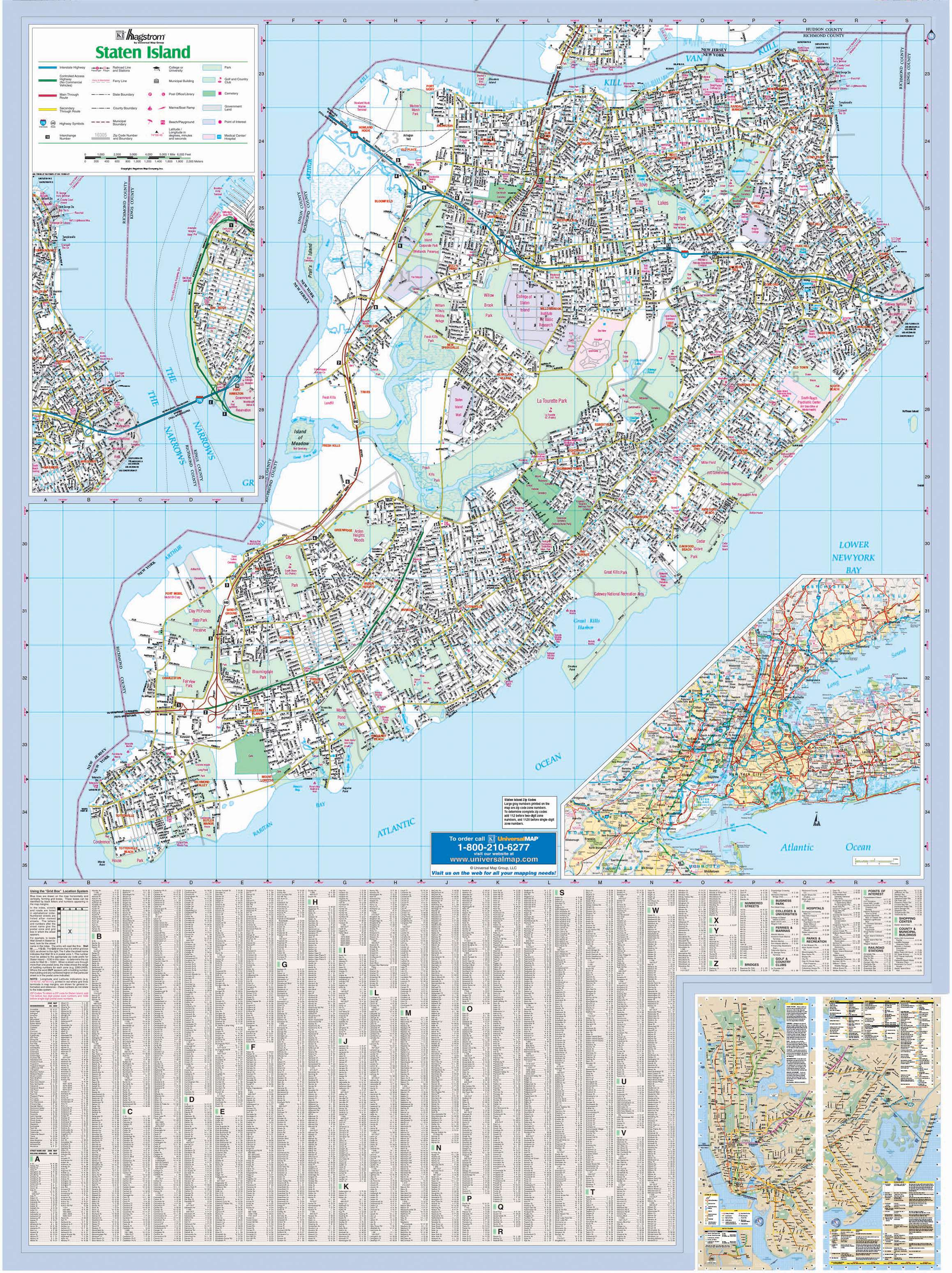 Richmond Co Staten Island NY Wall Map KAPPA MAP GROUP
