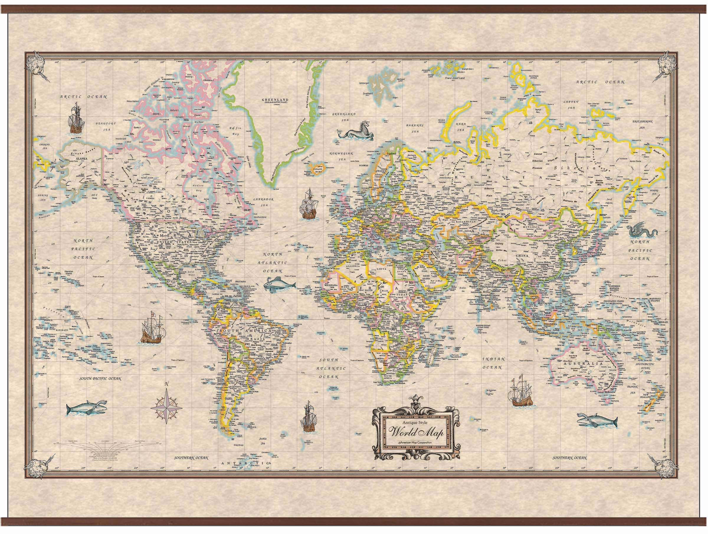 World Antique Look Wall Map – KAPPA MAP GROUP