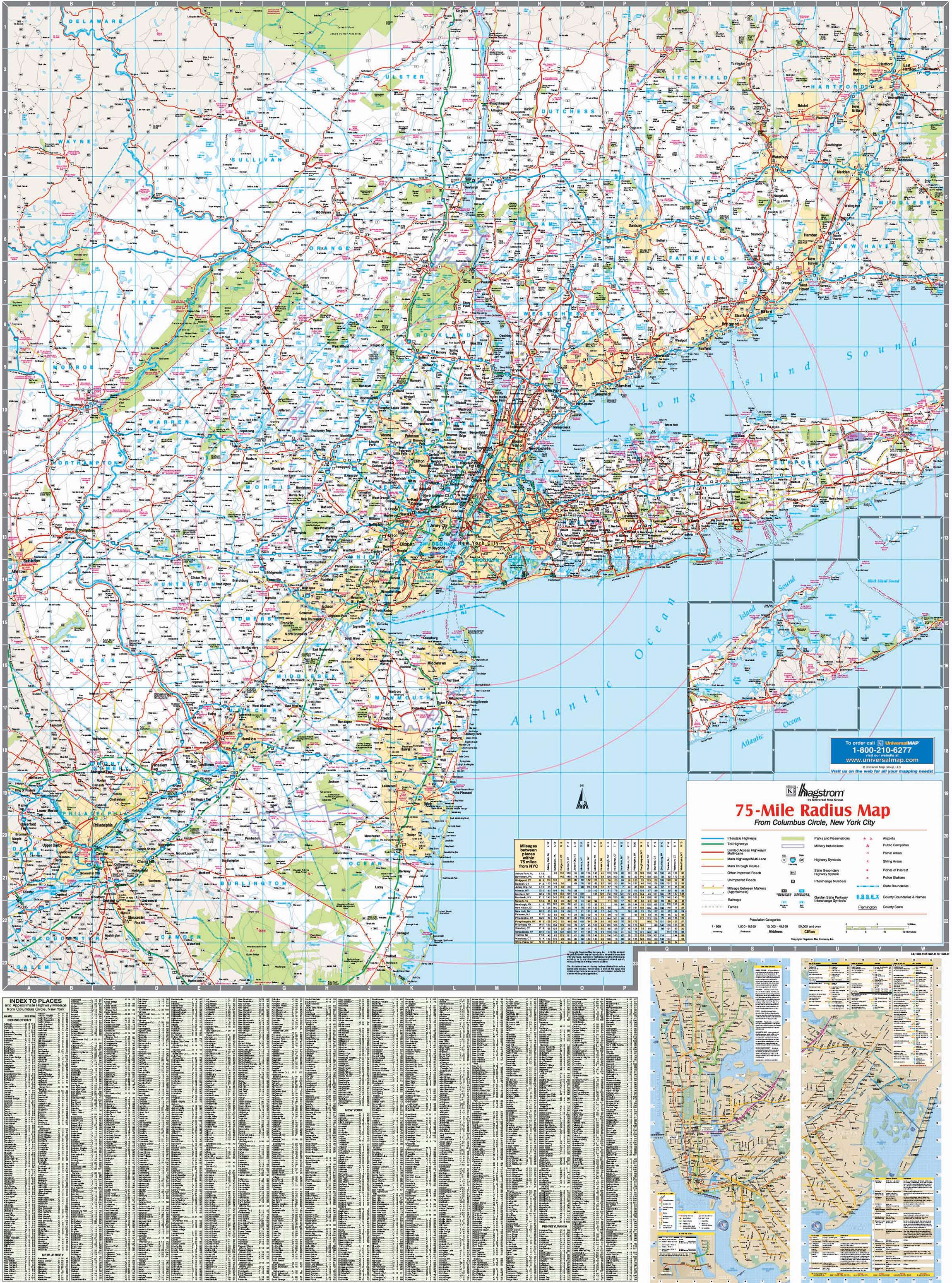 Map Of New York And Surrounding Areas.New York Tri State Vicinity Wall Map Kappa Map Group