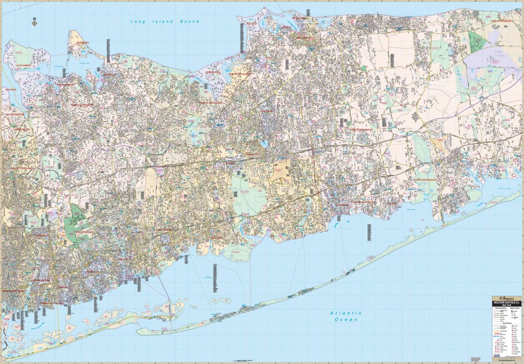 Suffolk County New York Map.Suffolk County Ny Western Wall Map Kappa Map Group