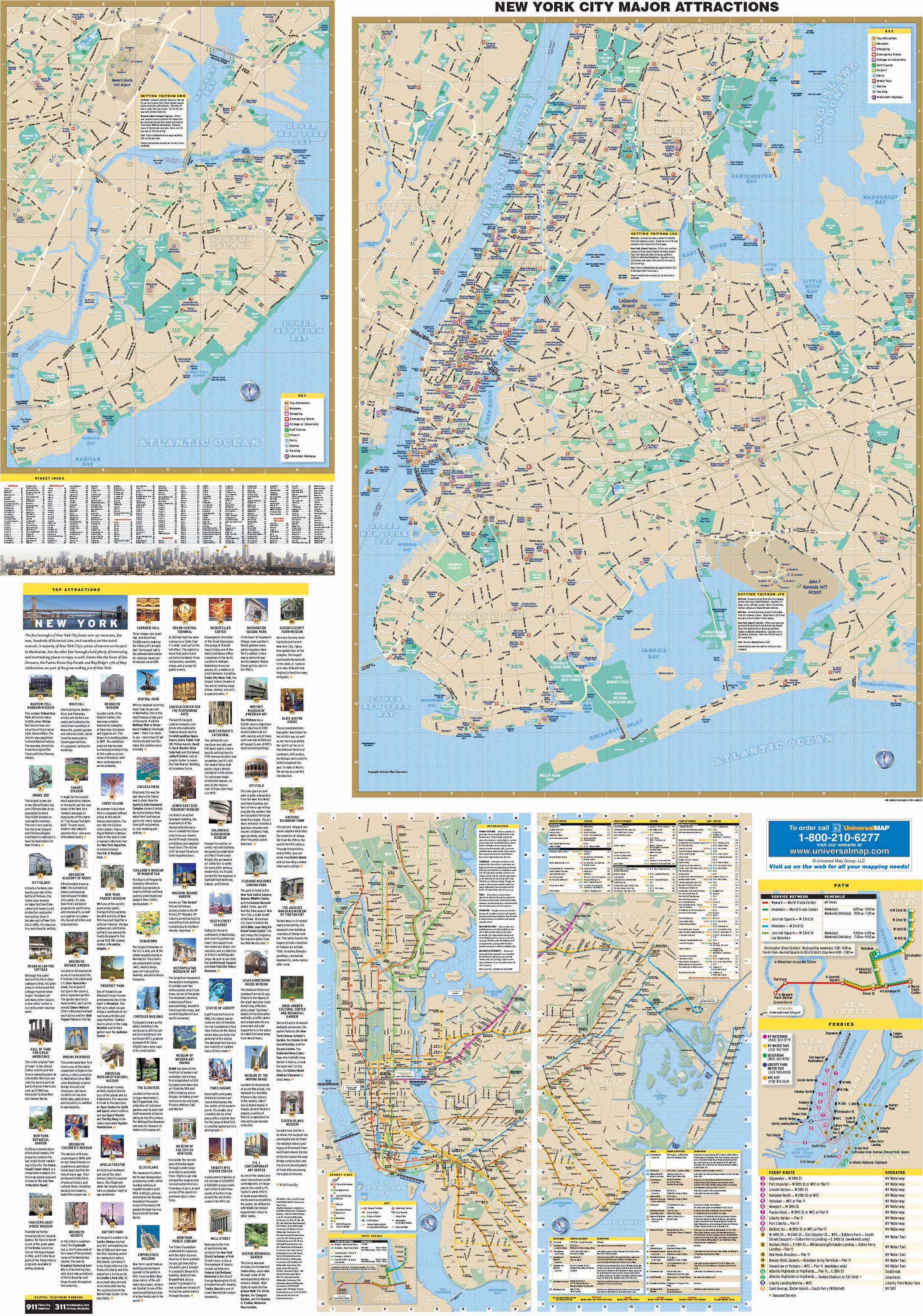 New York City, NY 5 Boroughs Major Attractions Wall Map ...