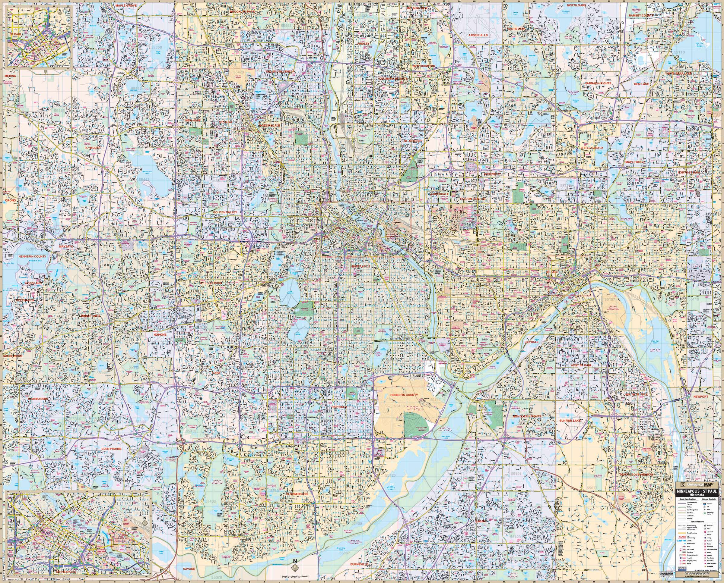 Minneapolis & St Paul, MN Wall Map – KAPPA MAP GROUP