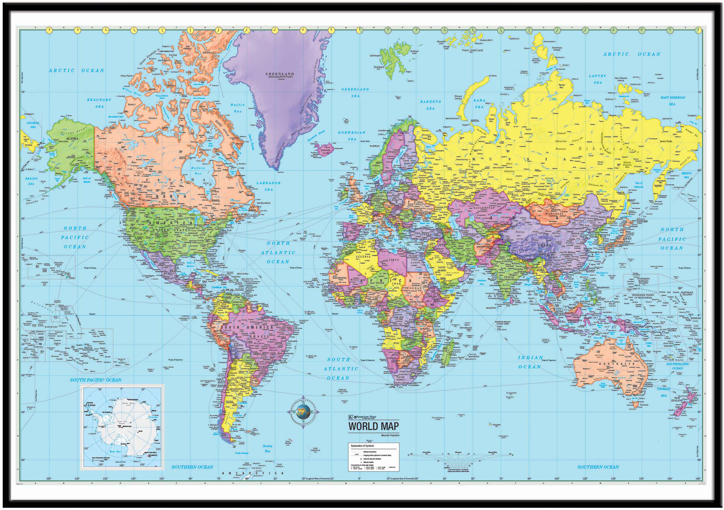 World Advanced Political Framed Wall Map Black Kappa Map Group