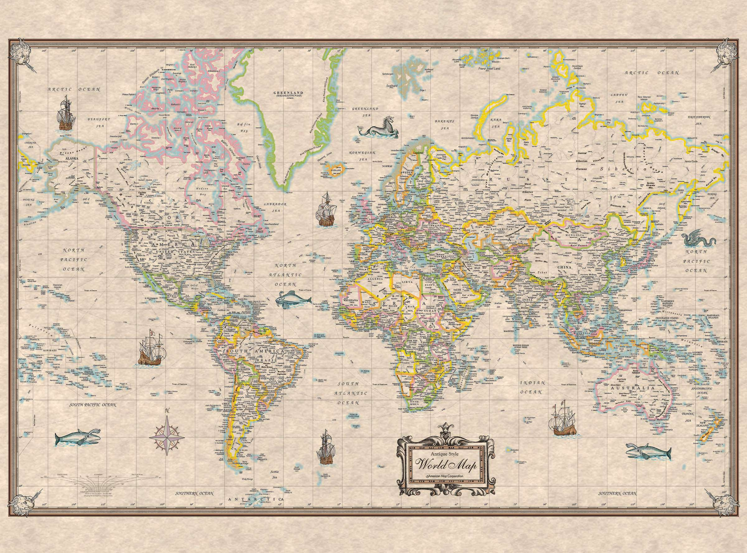 World antique look mounted wall map kappa map group world antique look mounted wall map gumiabroncs Gallery