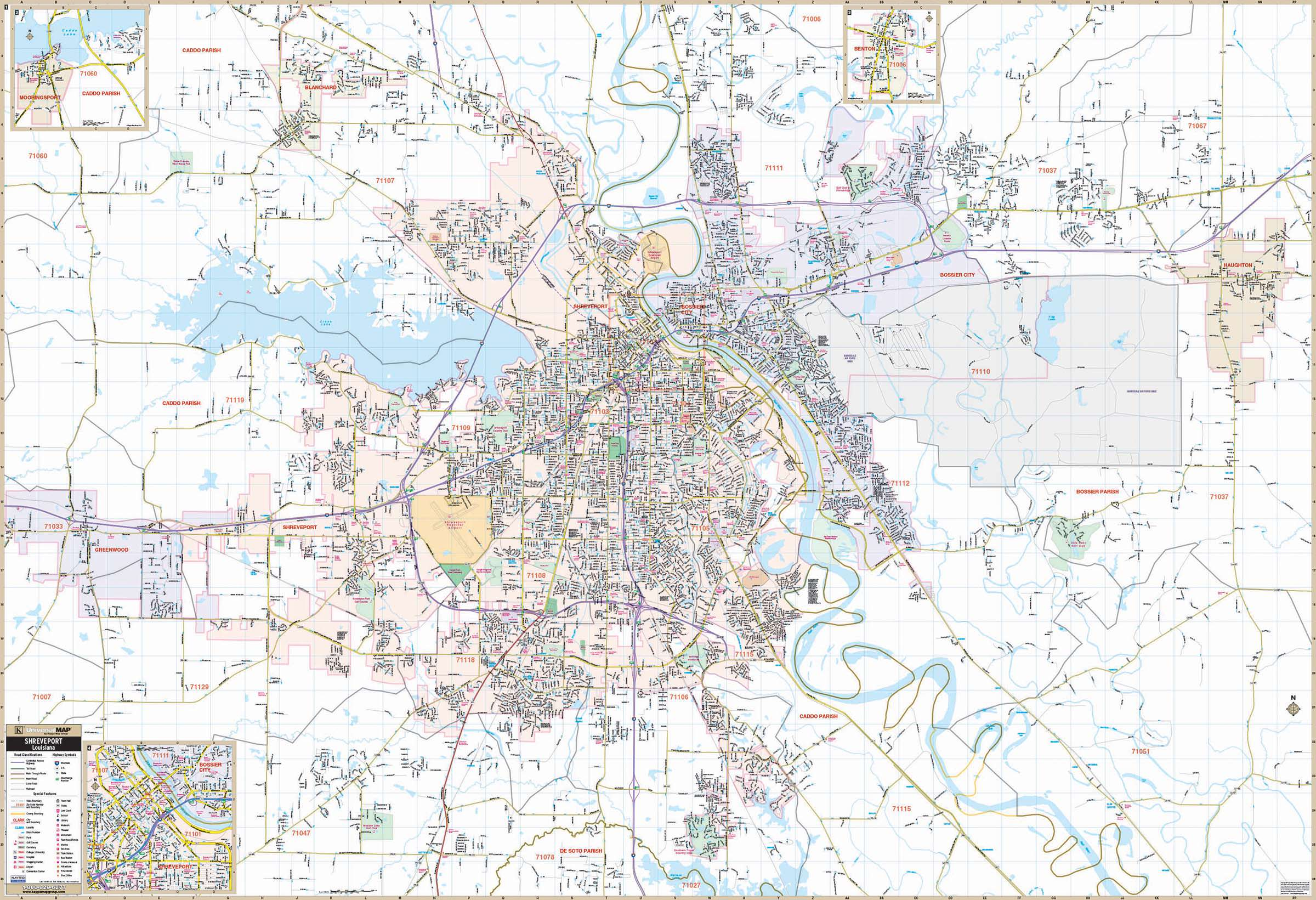 Shreveport Bossier City LA Wall Map KAPPA MAP GROUP