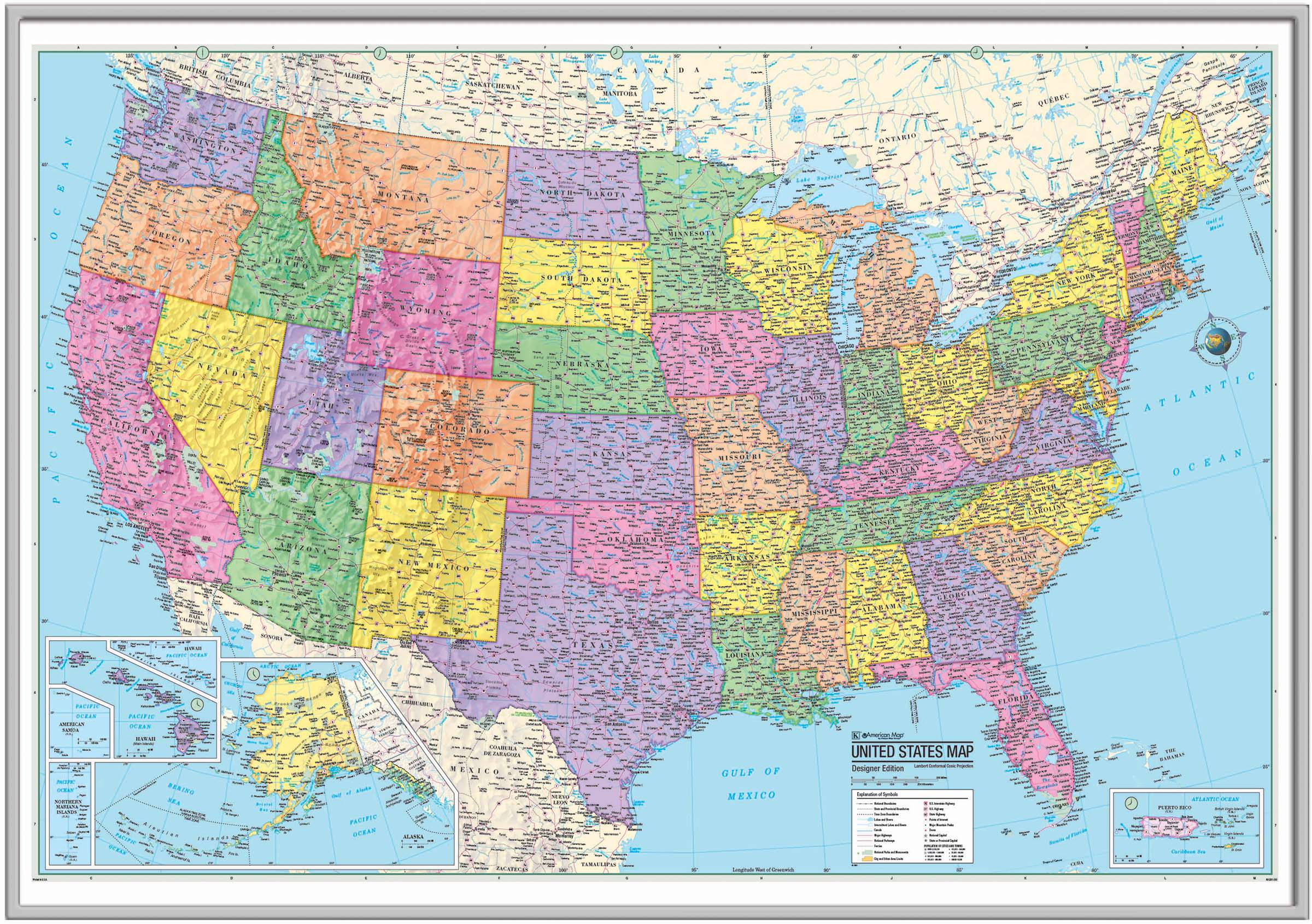US Advanced Political Framed Wall Map Silver KAPPA MAP GROUP - Framed us wall map
