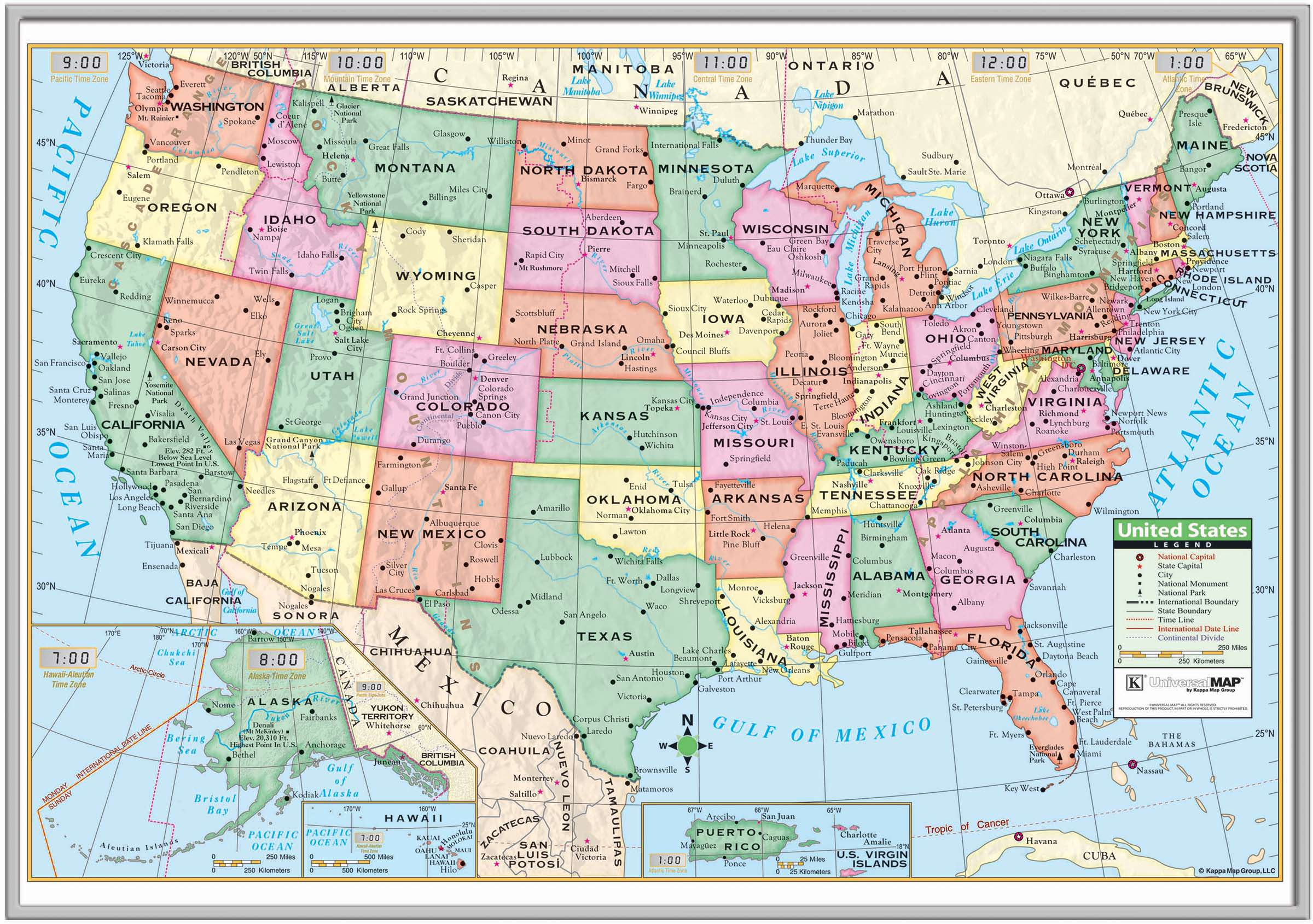 US Primary Framed Wall Map Silver KAPPA MAP GROUP - Framed us wall map