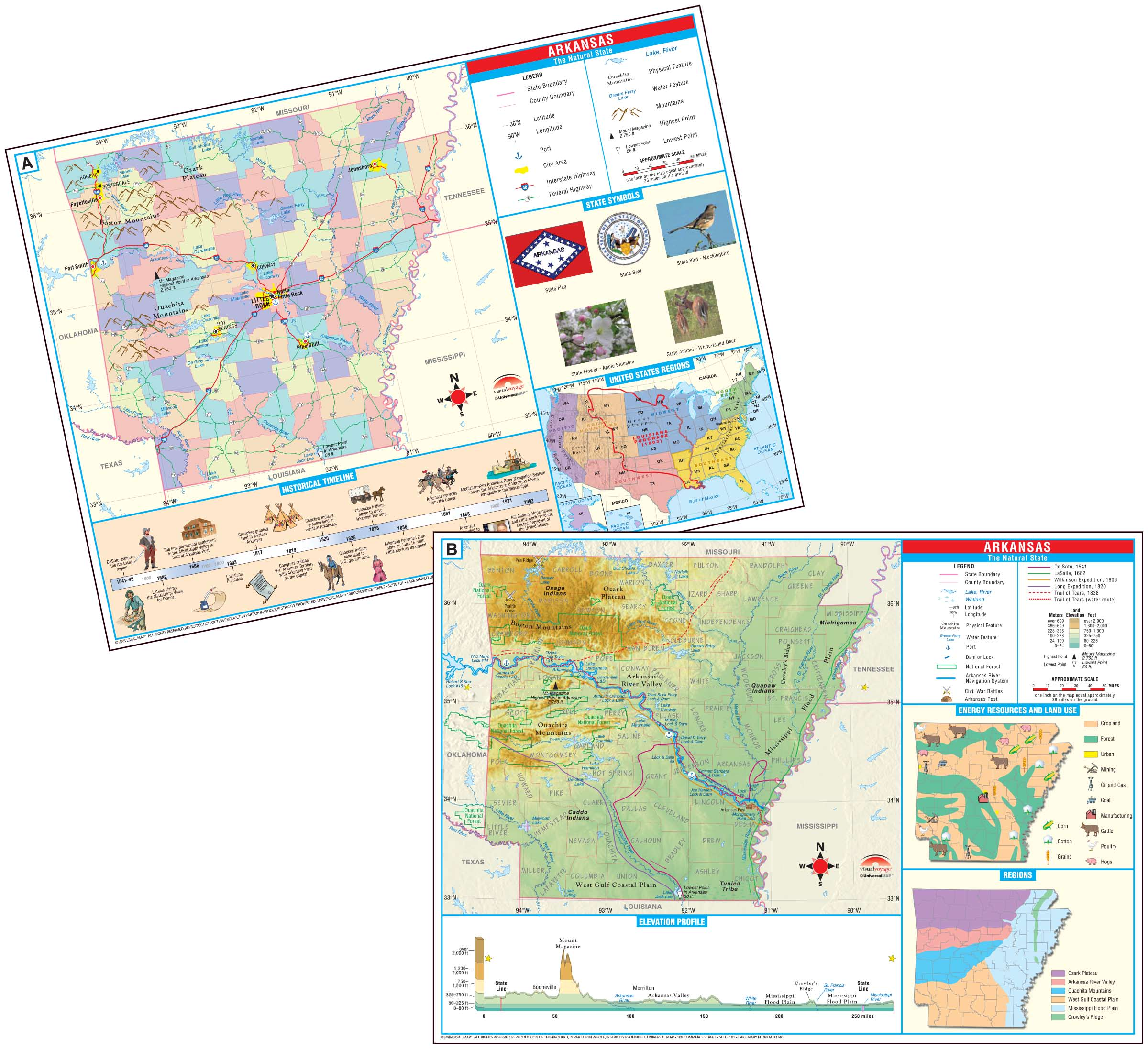 Arkansas State Primary Thematic Deskpad Map (multi-pack ...