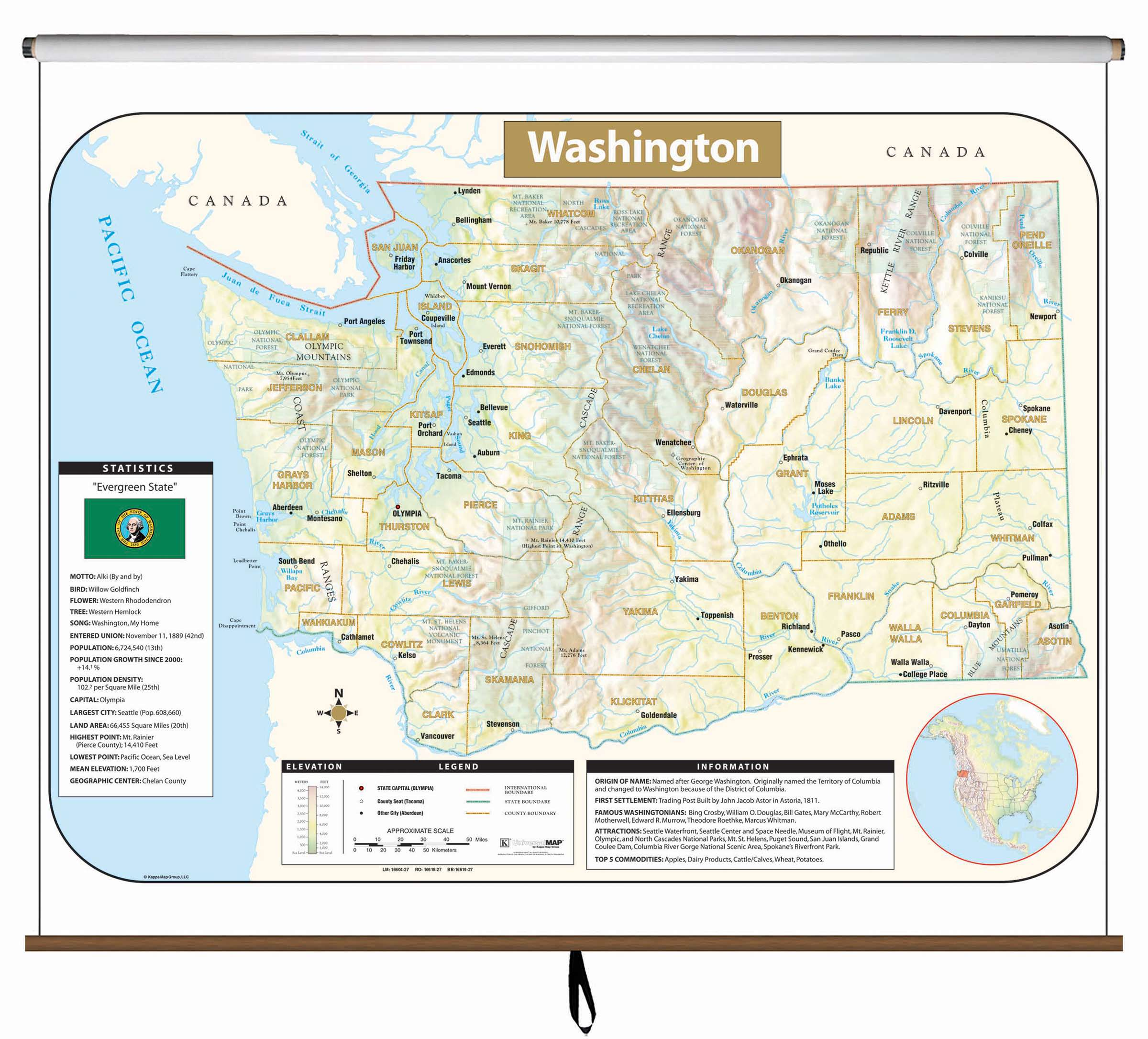 Washington Large Scale Shaded Relief Wall Map on Roller KAPPA MAP