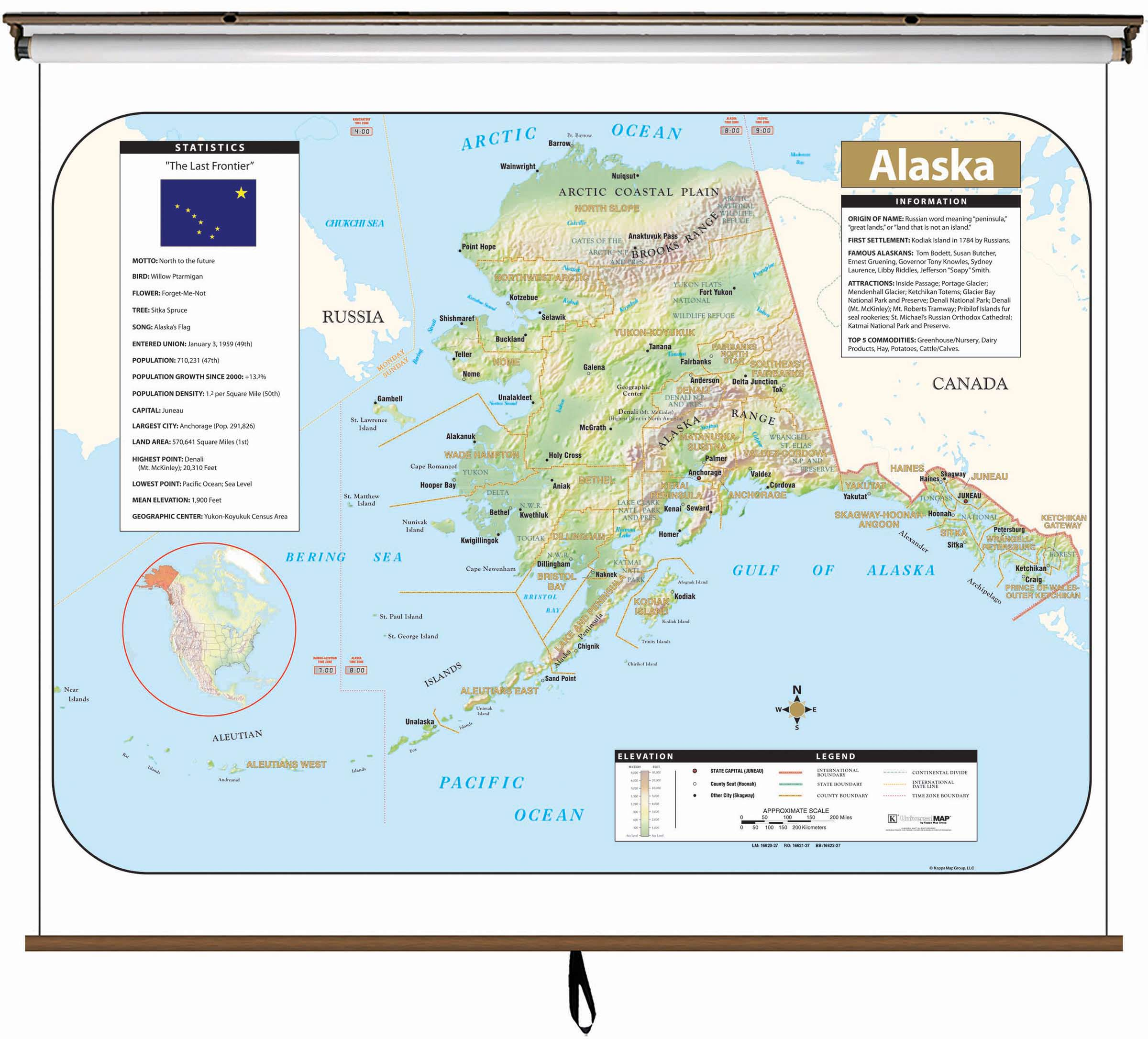 Alaska Large Scale Shaded Relief Wall Map On Roller With Backboard - Large scale world map