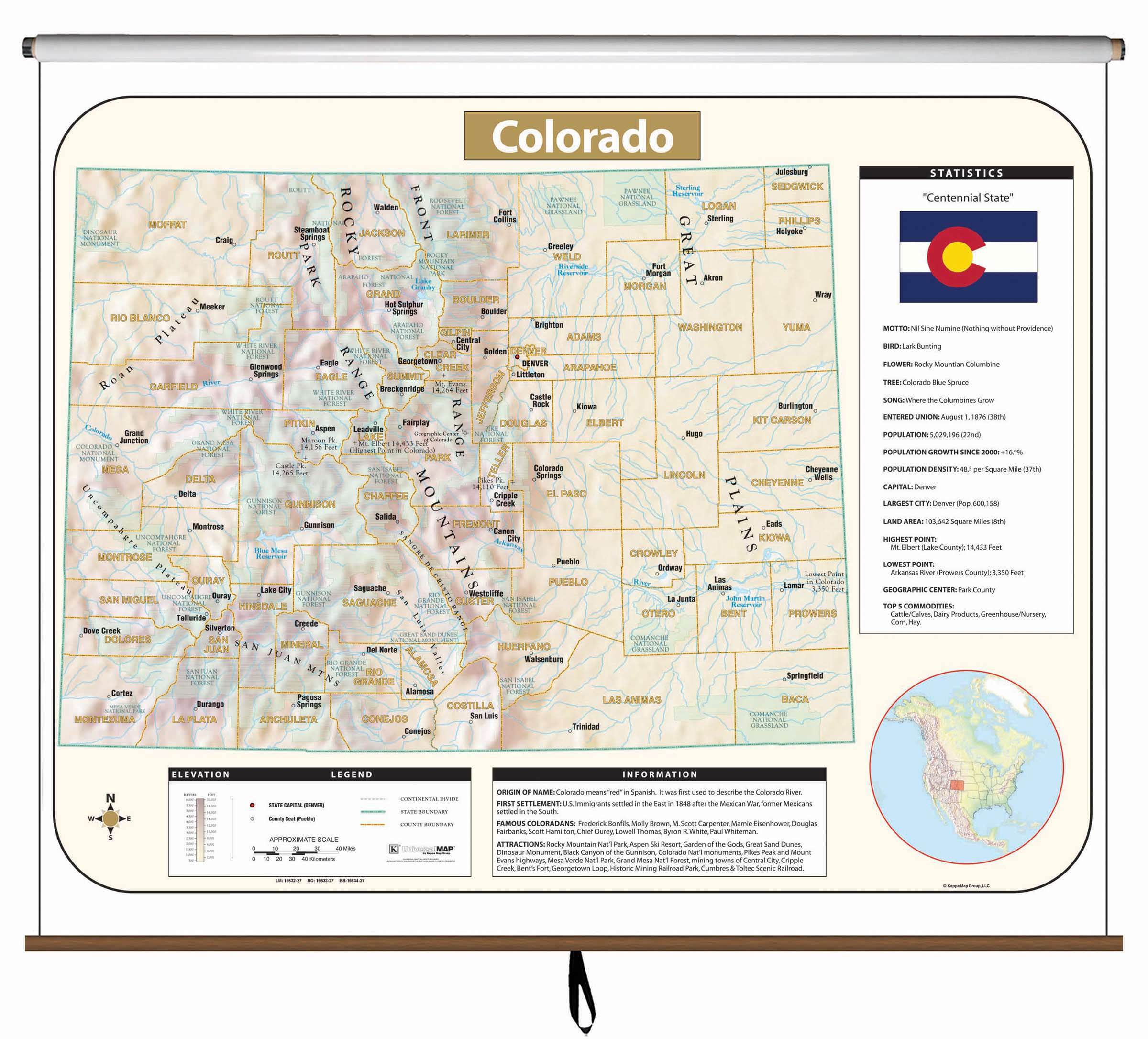 Colorado Large Scale Shaded Relief Wall Map on Roller KAPPA MAP GROUP