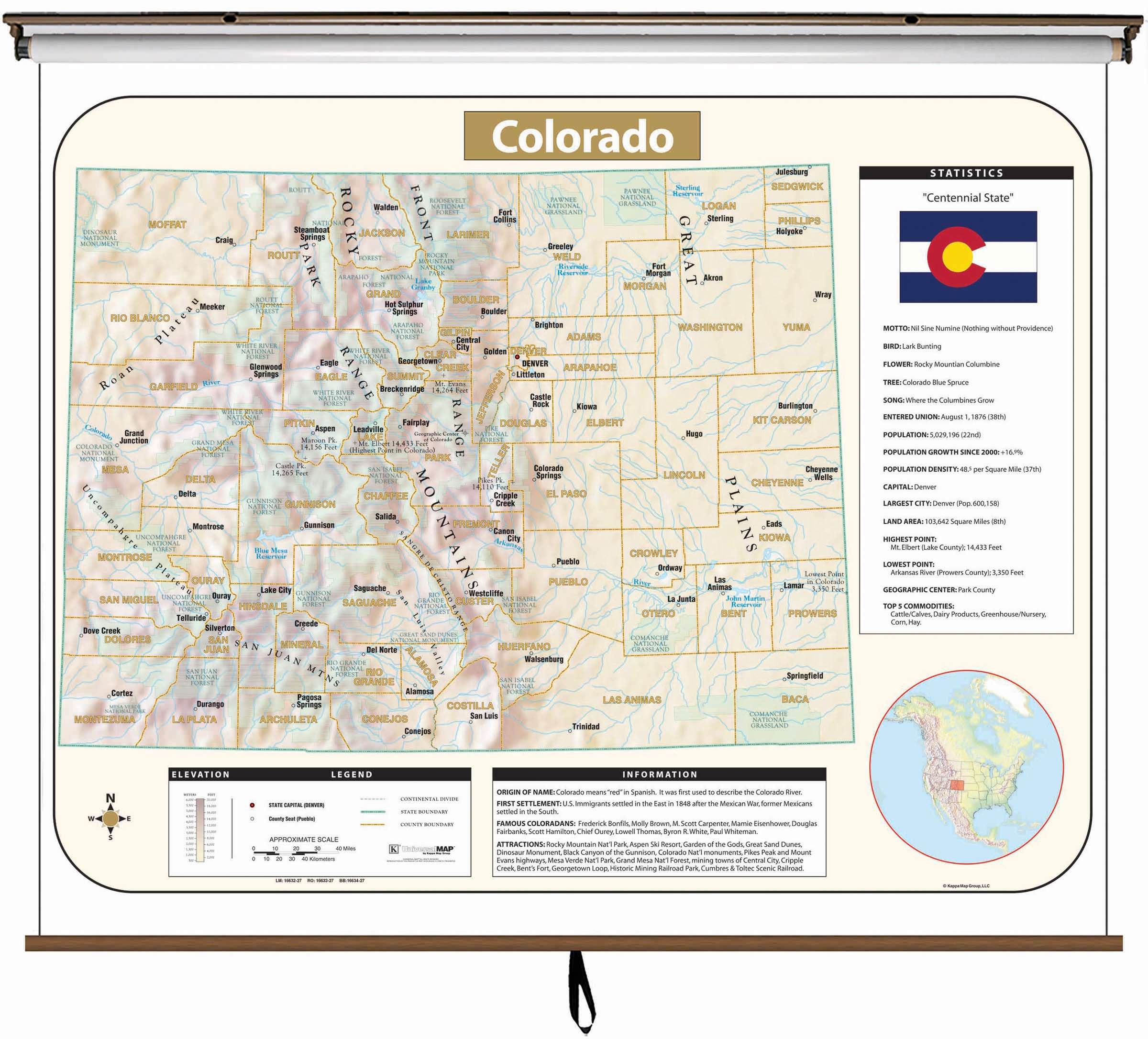 Colorado Large Scale Shaded Relief Wall Map On Roller With Backboard