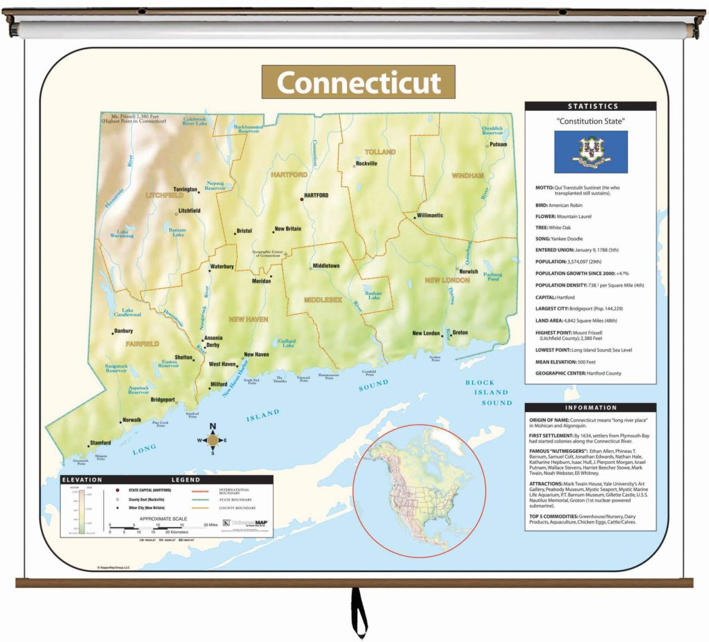 Connecticut Large Scale Shaded Relief Wall Map on Roller – KAPPA MAP ...