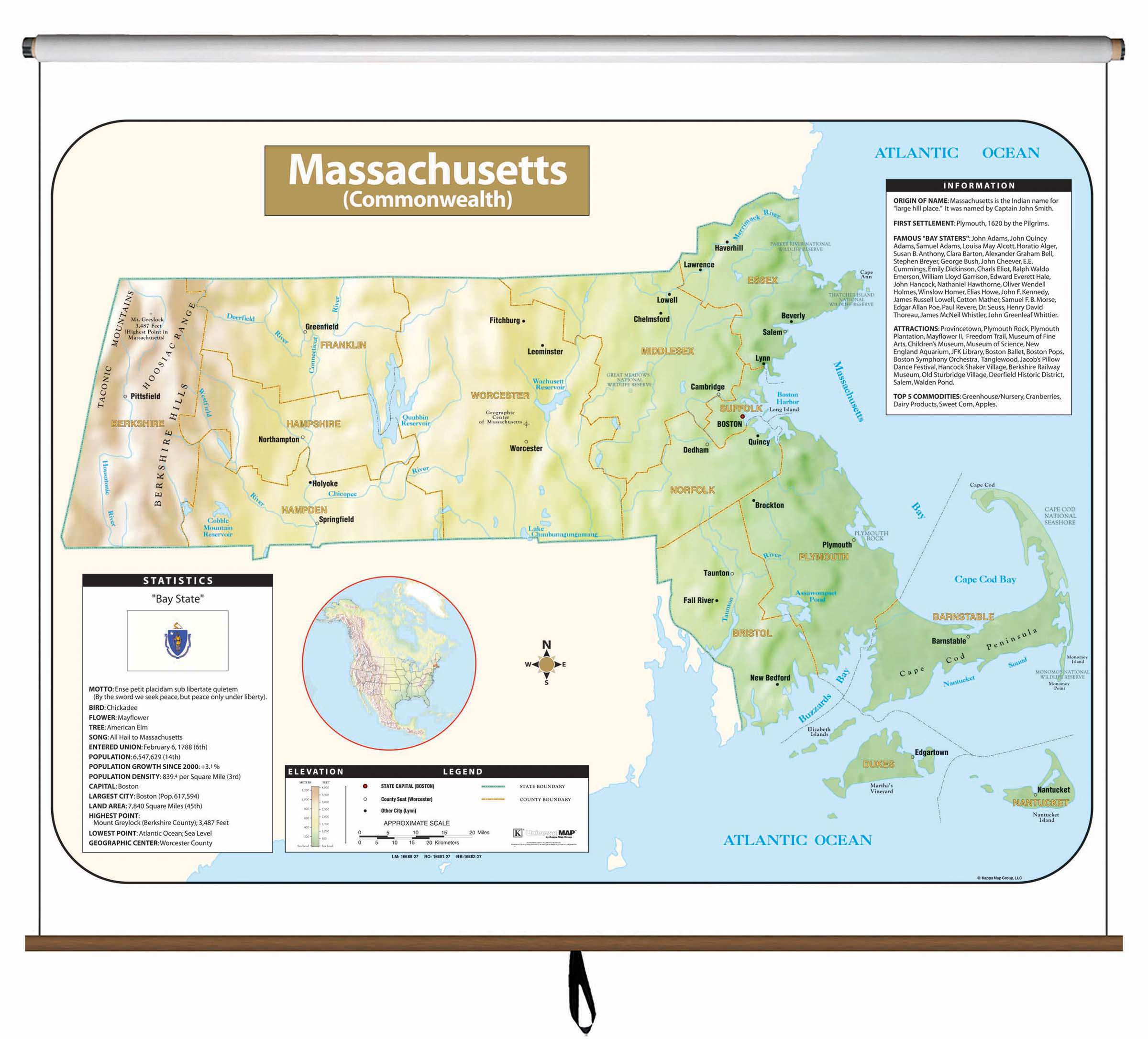 Machusetts Large Scale Shaded Relief Wall Map – KAPPA MAP ... on