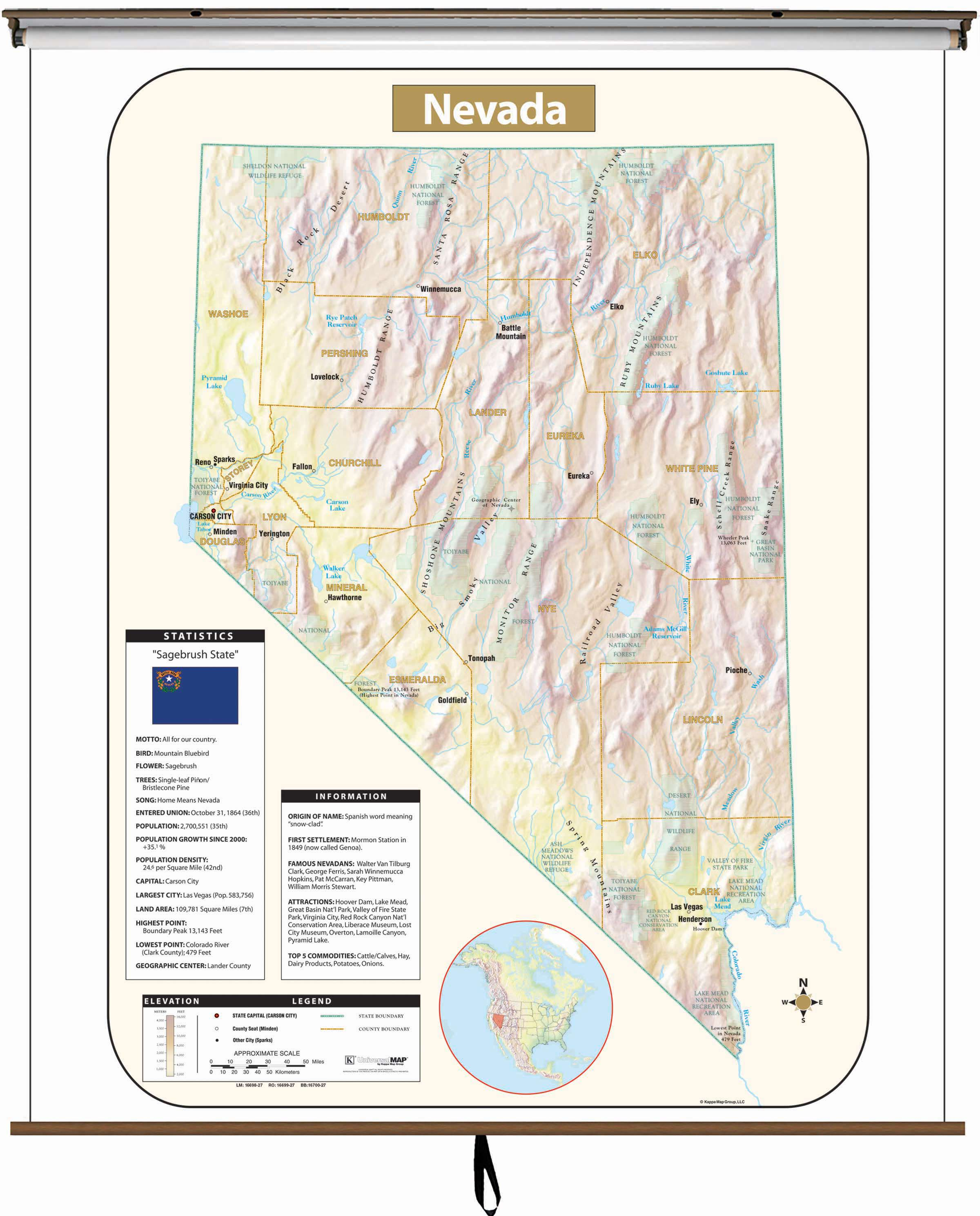Nevada Large Scale Shaded Relief Wall Map on Roller with Backboard ...
