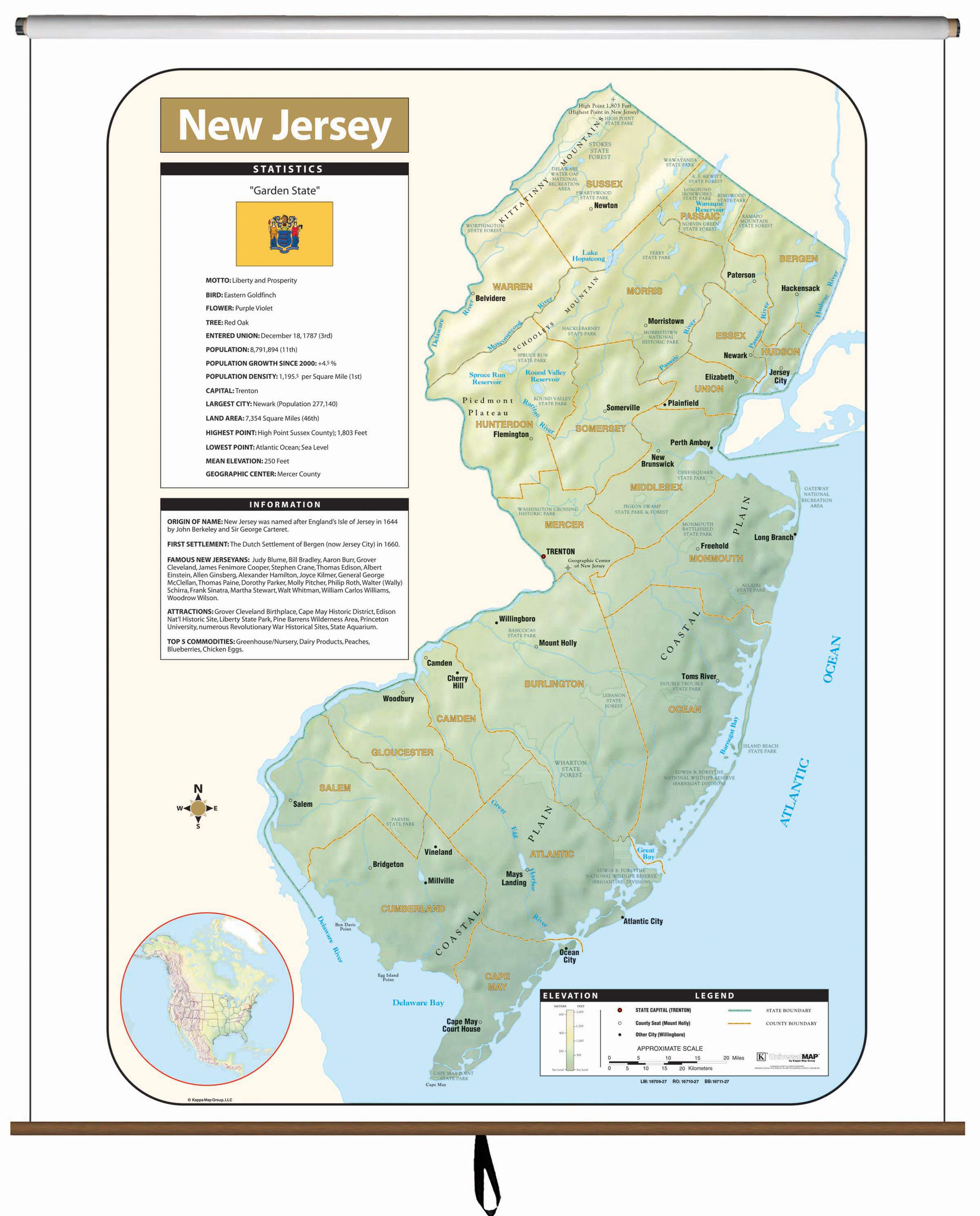 New Jersey Large Scale Shaded Relief Wall Map on Roller – KAPPA MAP ...