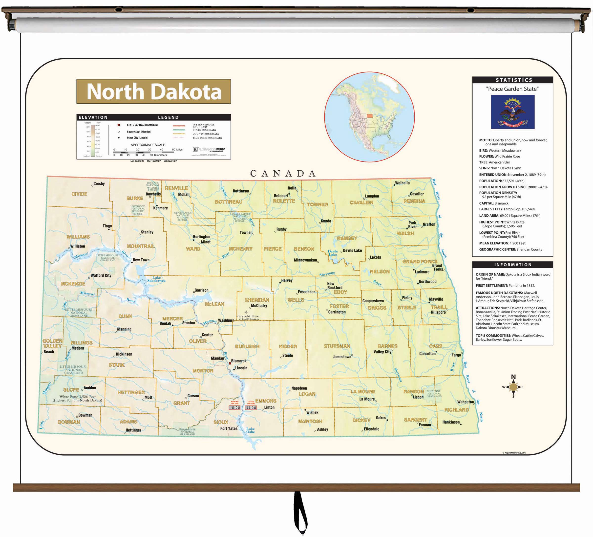 North Dakota Large Scale Shaded Relief Wall Map on Roller with ...