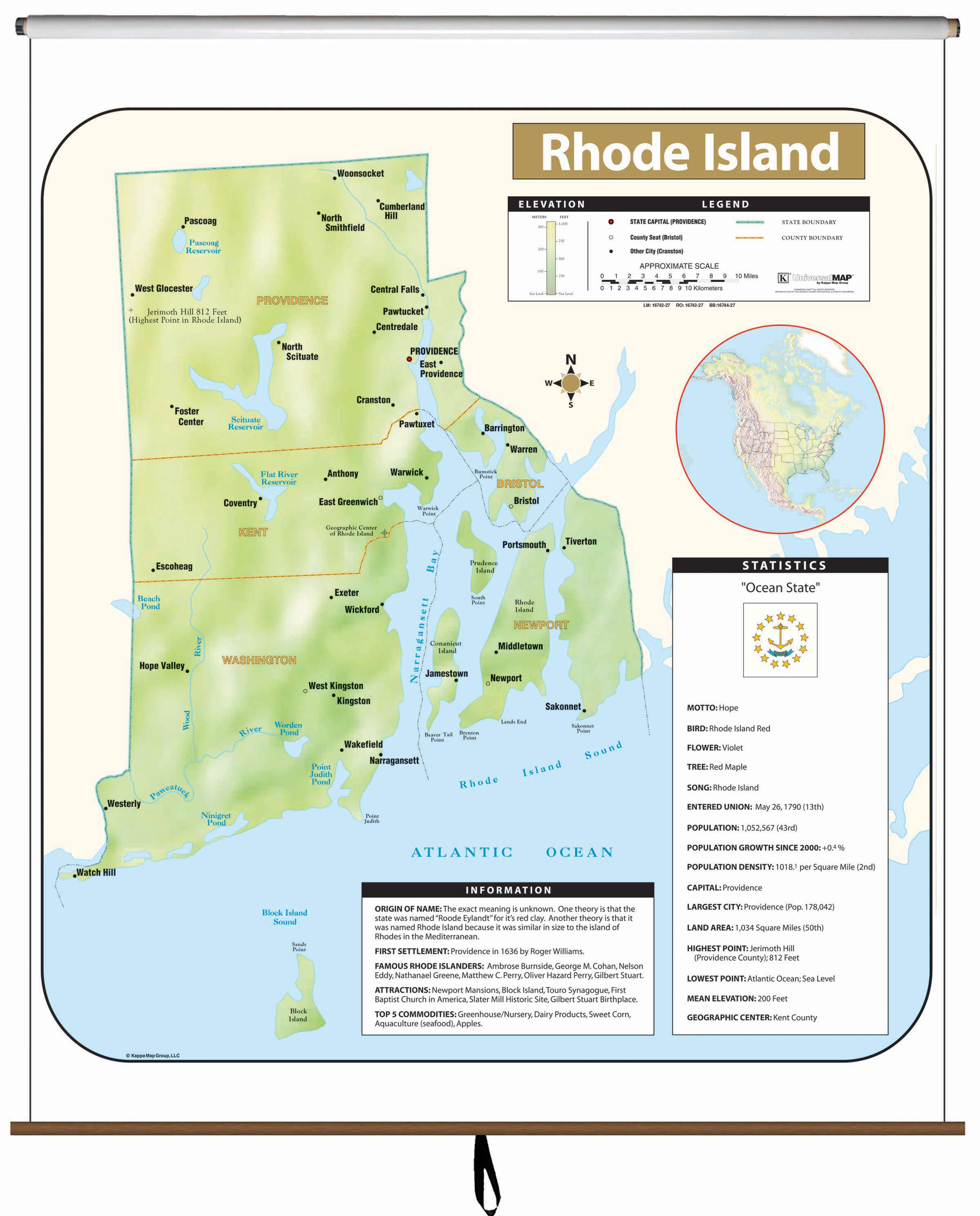 Rhode Island Large Scale Shaded Relief Wall Map on Roller – KAPPA ...