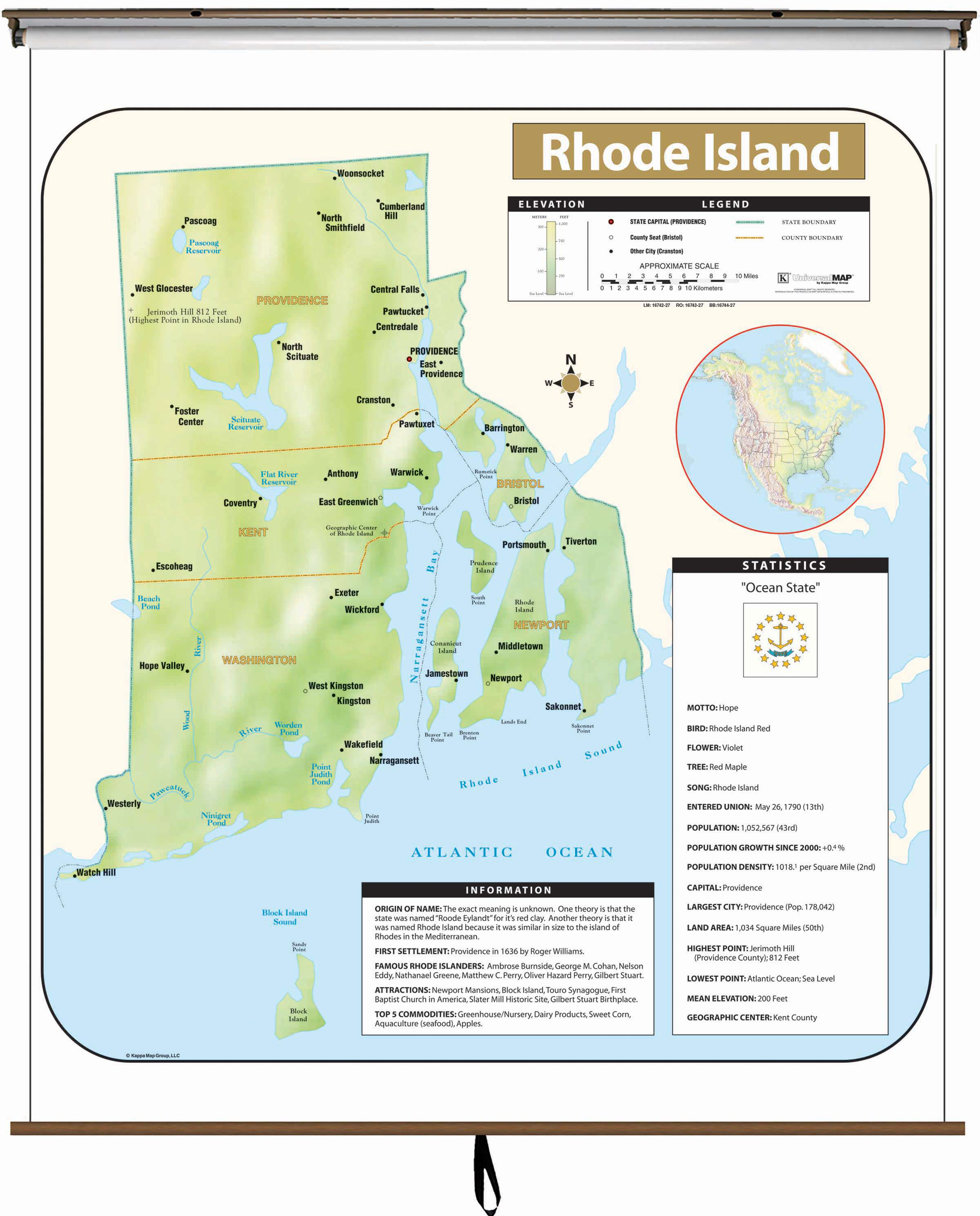 Rhode Island Large Scale Shaded Relief Wall Map on Roller with ...