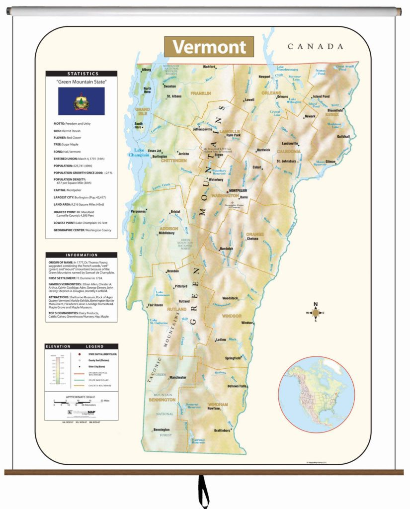 Vermont State Wall Map Kappa Map Group