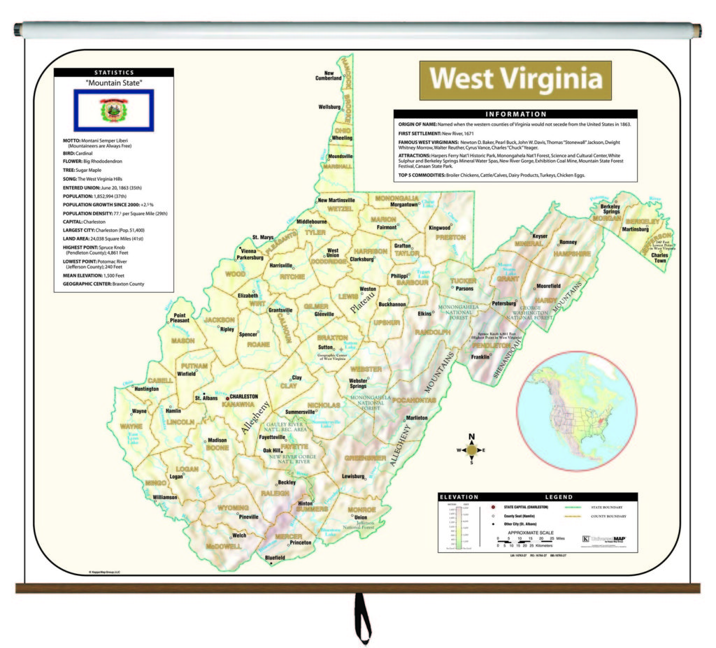 West Virginia Large Scale Shaded Relief Wall Map – KAPPA MAP ...