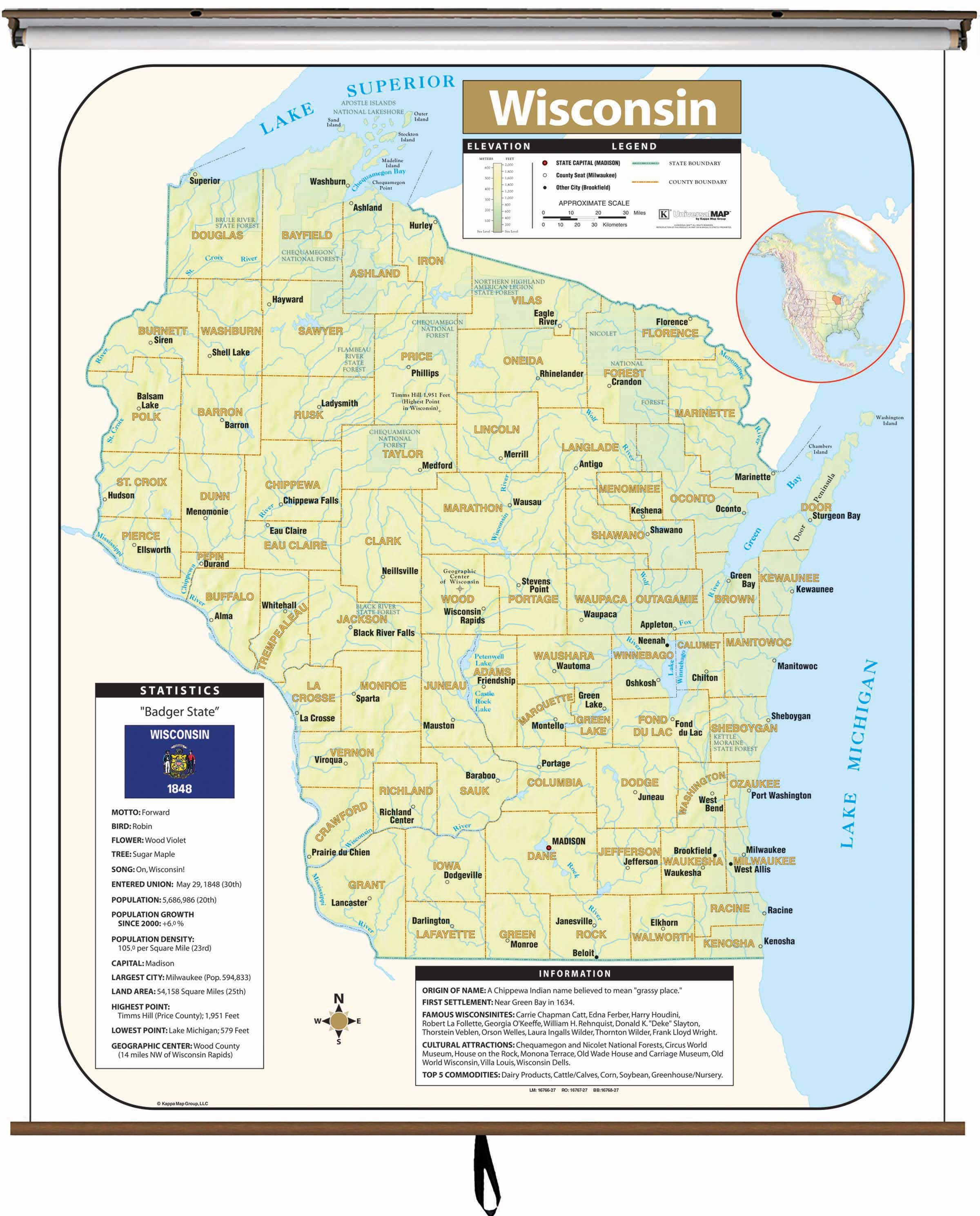 Wisconsin Large Scale Shaded Relief Wall Map On Roller With - Large scale world map