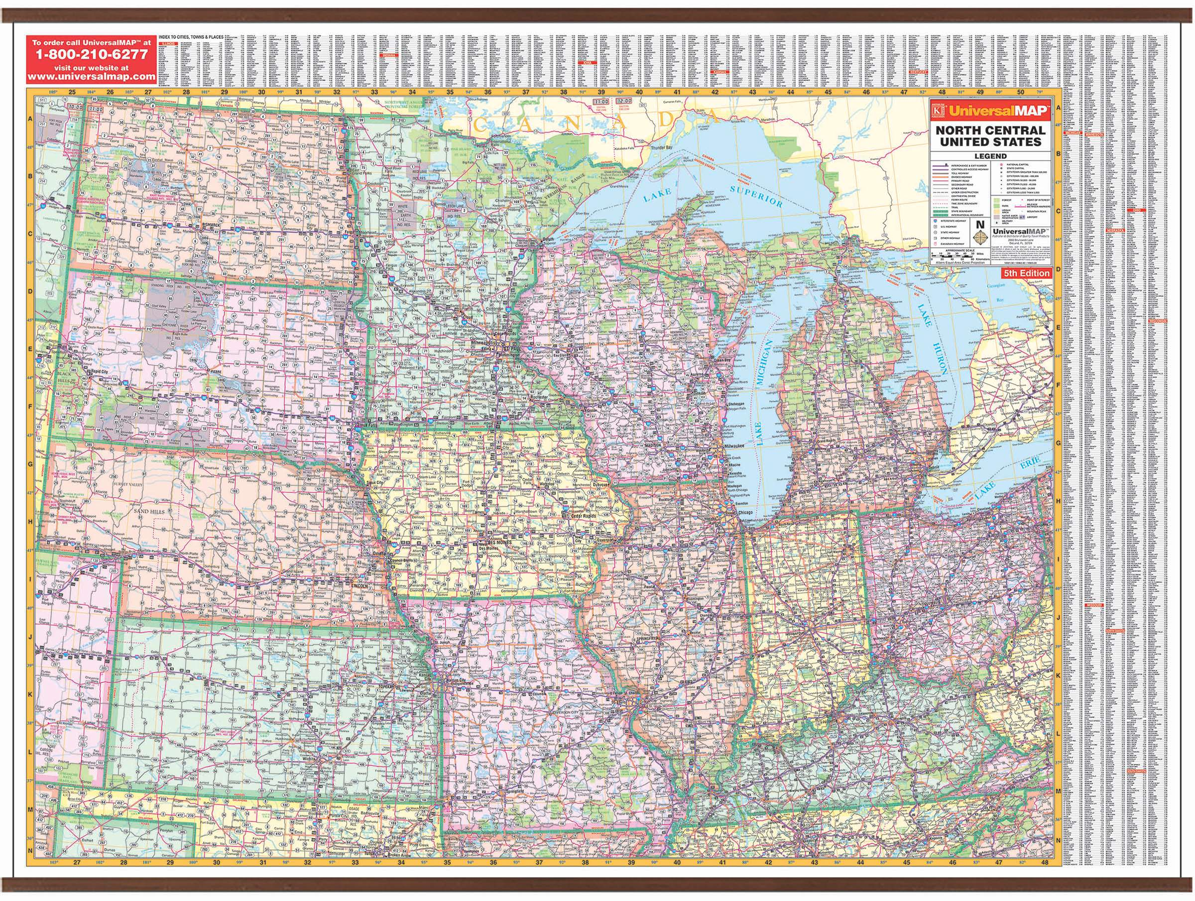 Us North Central Wall Map Kappa Map Group