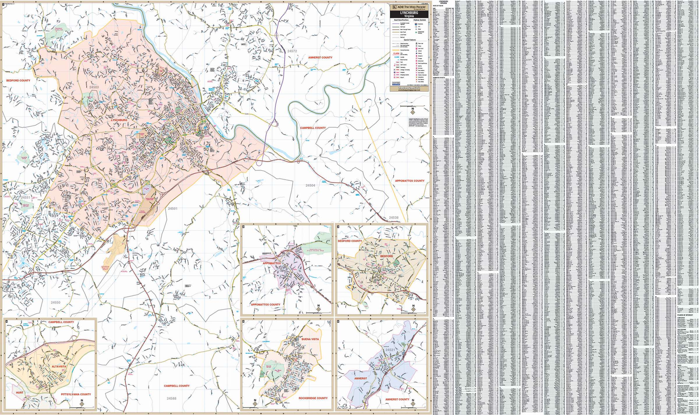 Lynchburg Virginia Wall Map KAPPA MAP GROUP