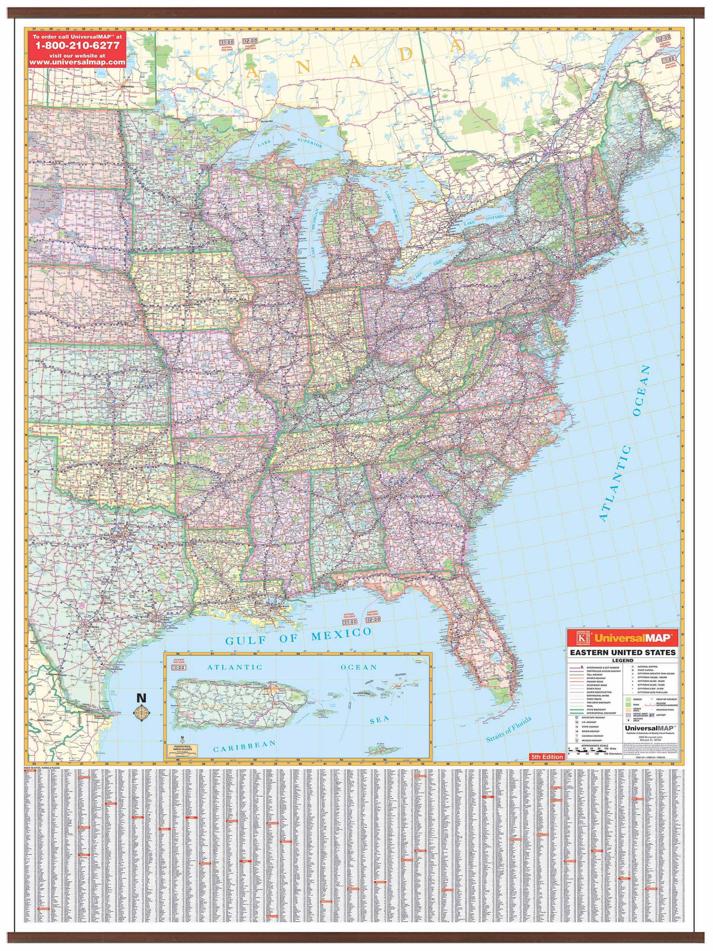 Picture of: Us Eastern Wall Map Kappa Map Group