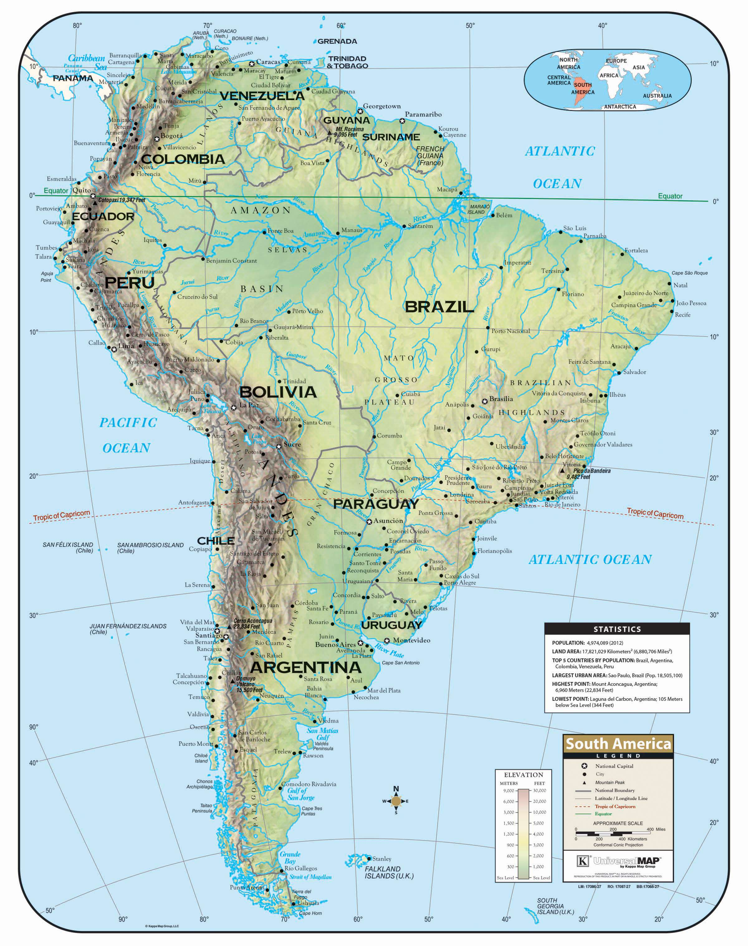 Map Of South America 2017.South America Shaded Relief Wall Map Kappa Map Group