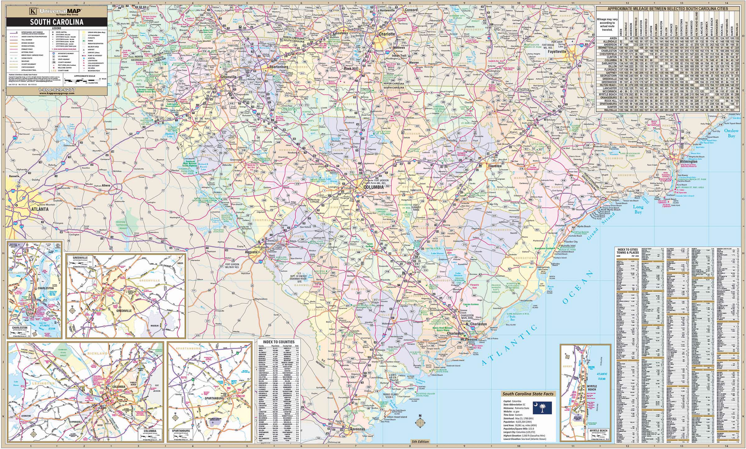 South Carolina State Wall Map – KAPPA MAP GROUP